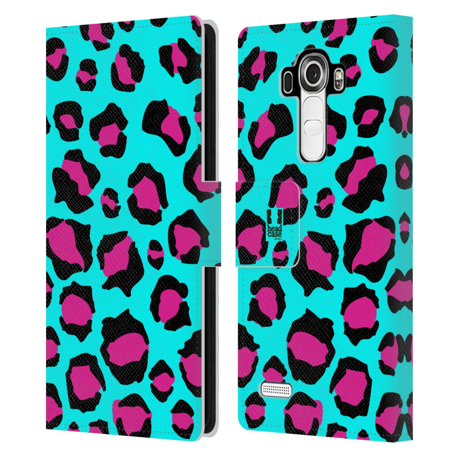 HEAD CASE Flipové pouzdro pro mobil LG G4 (H815) Zvířecí barevné vzory tyrkysový leopard