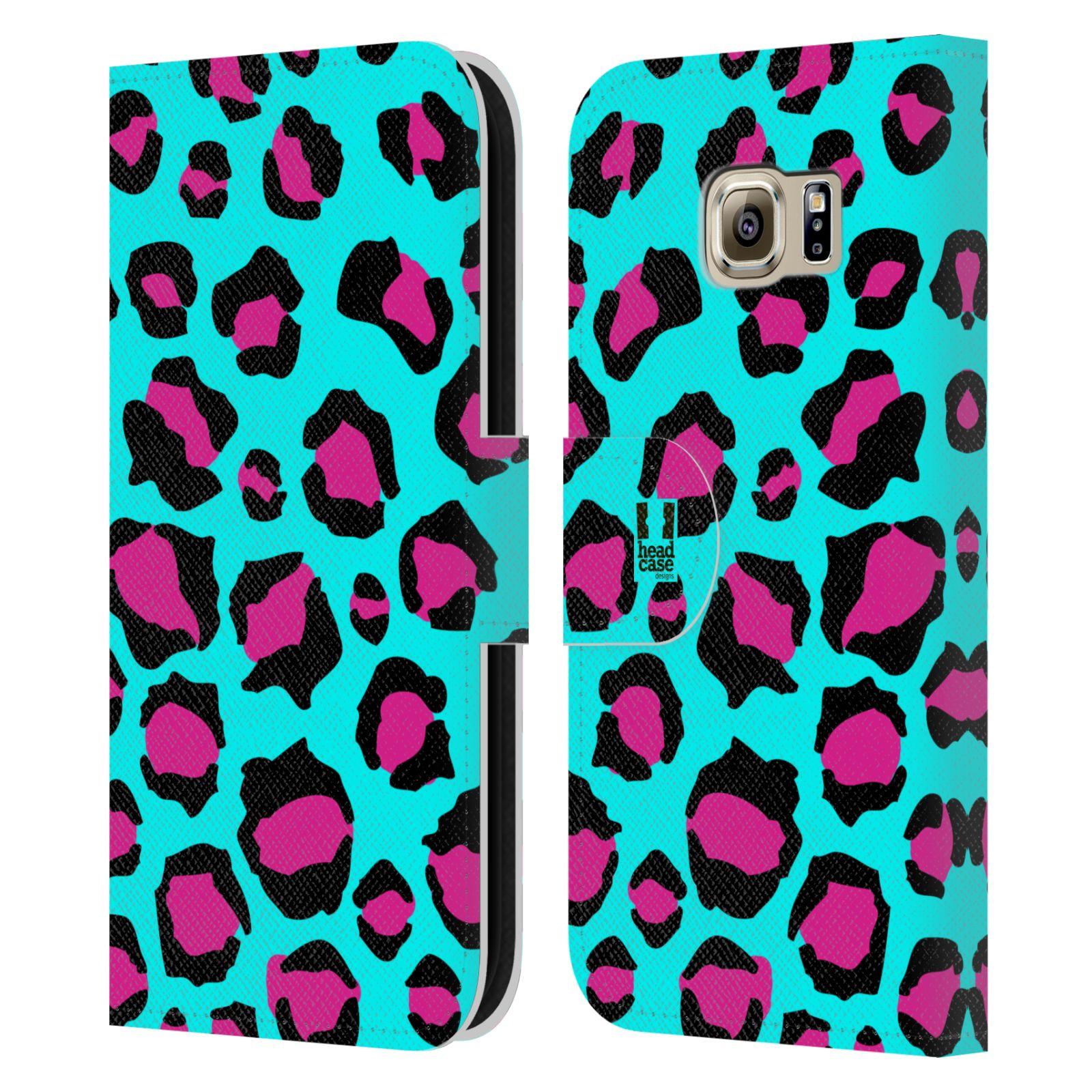HEAD CASE Flipové pouzdro pro mobil Samsung Galaxy S6 (G9200) Zvířecí barevné vzory tyrkysový leopard
