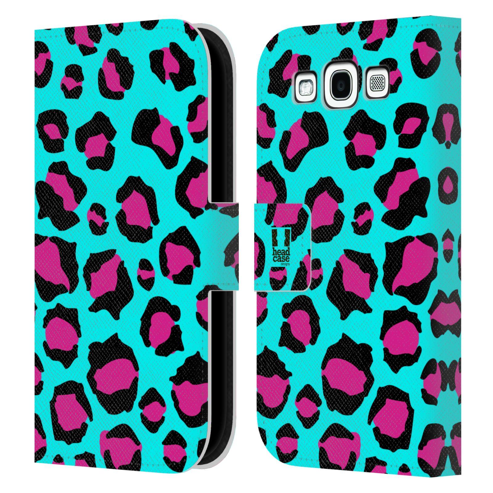 HEAD CASE Flipové pouzdro pro mobil Samsung Galaxy S3 Zvířecí barevné vzory tyrkysový leopard