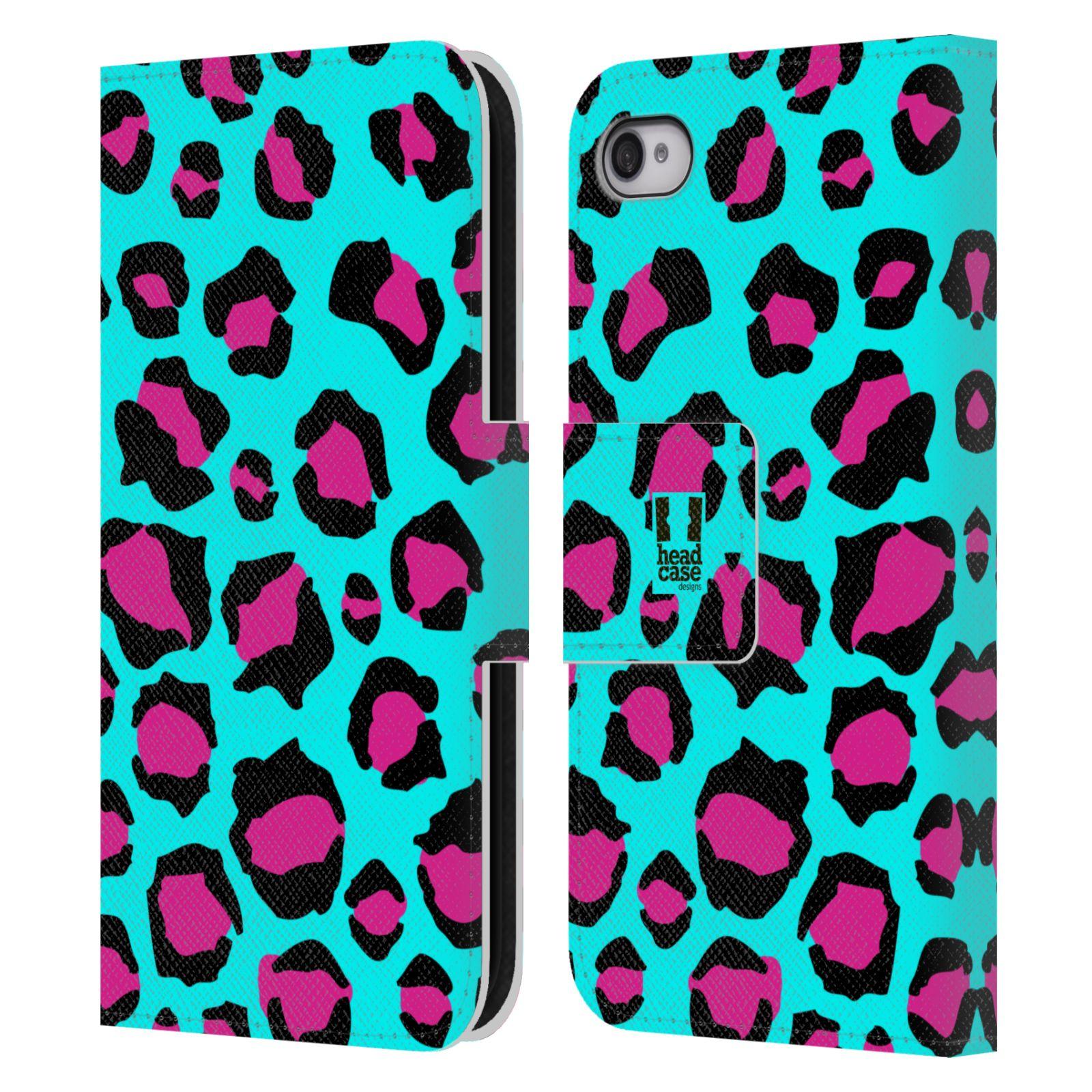 HEAD CASE Flipové pouzdro pro mobil Apple Iphone 4/4s Zvířecí barevné vzory tyrkysový leopard