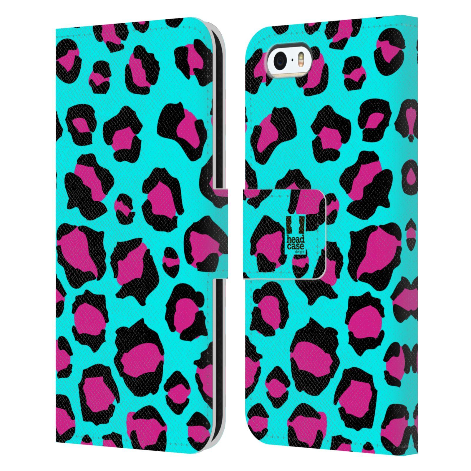 HEAD CASE Flipové pouzdro pro mobil Apple Iphone 5/5s Zvířecí barevné vzory tyrkysový leopard