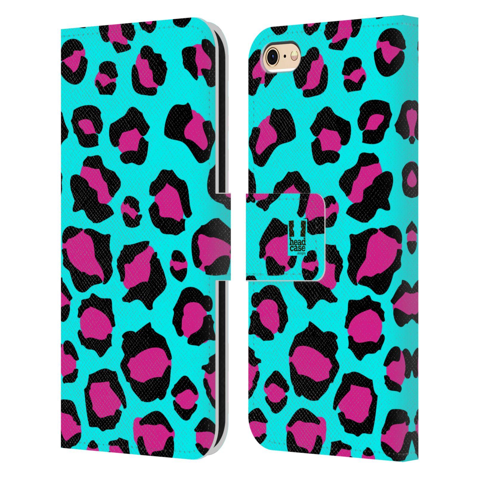 HEAD CASE Flipové pouzdro pro mobil Apple Iphone 6/6s Zvířecí barevné vzory tyrkysový leopard