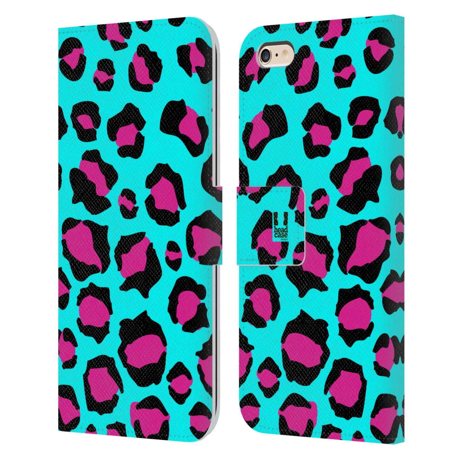 HEAD CASE Flipové pouzdro pro mobil Apple Iphone 6 PLUS / 6S PLUS Zvířecí barevné vzory tyrkysový leopard