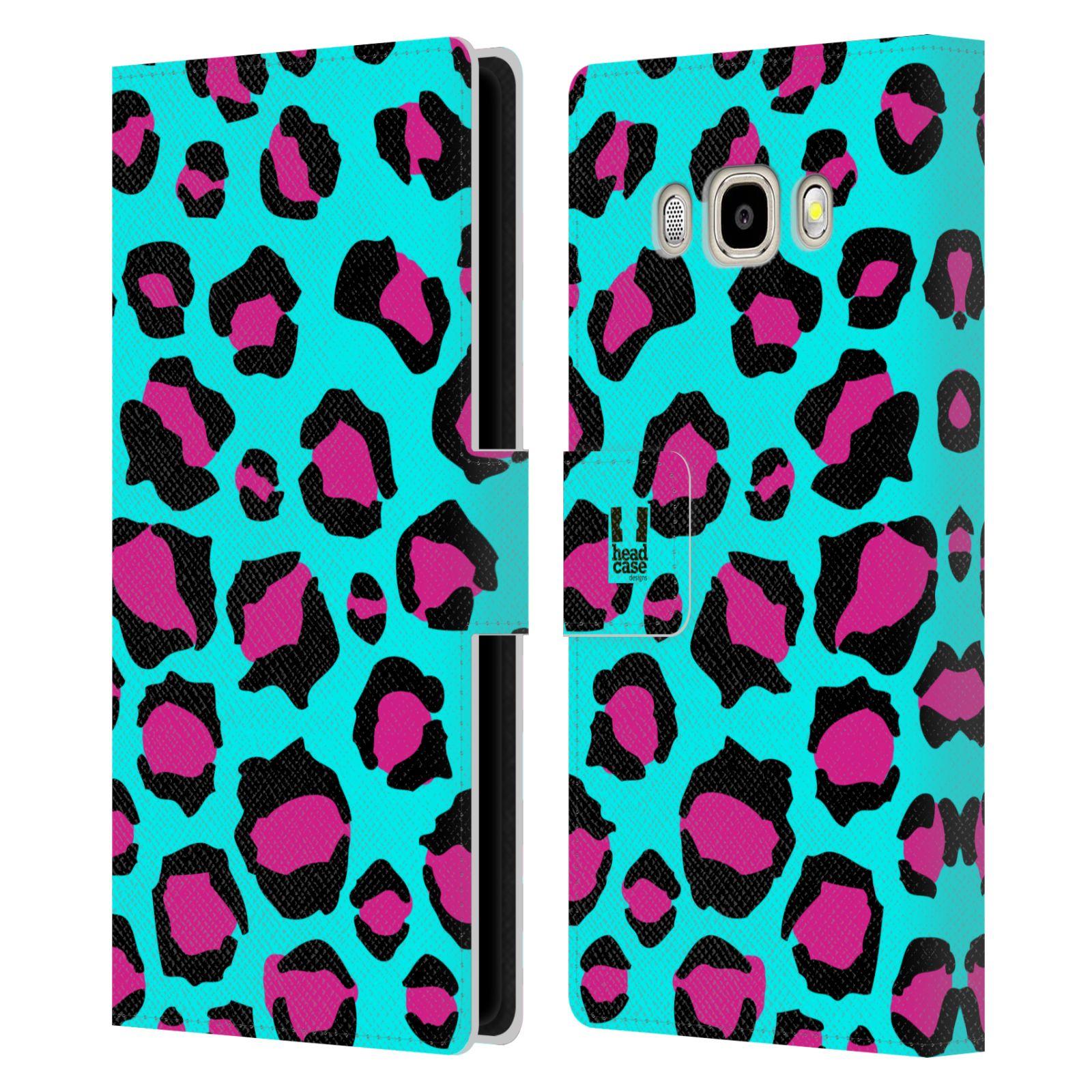 HEAD CASE Flipové pouzdro pro mobil Samsung Galaxy J5 2016 Zvířecí barevné vzory tyrkysový leopard