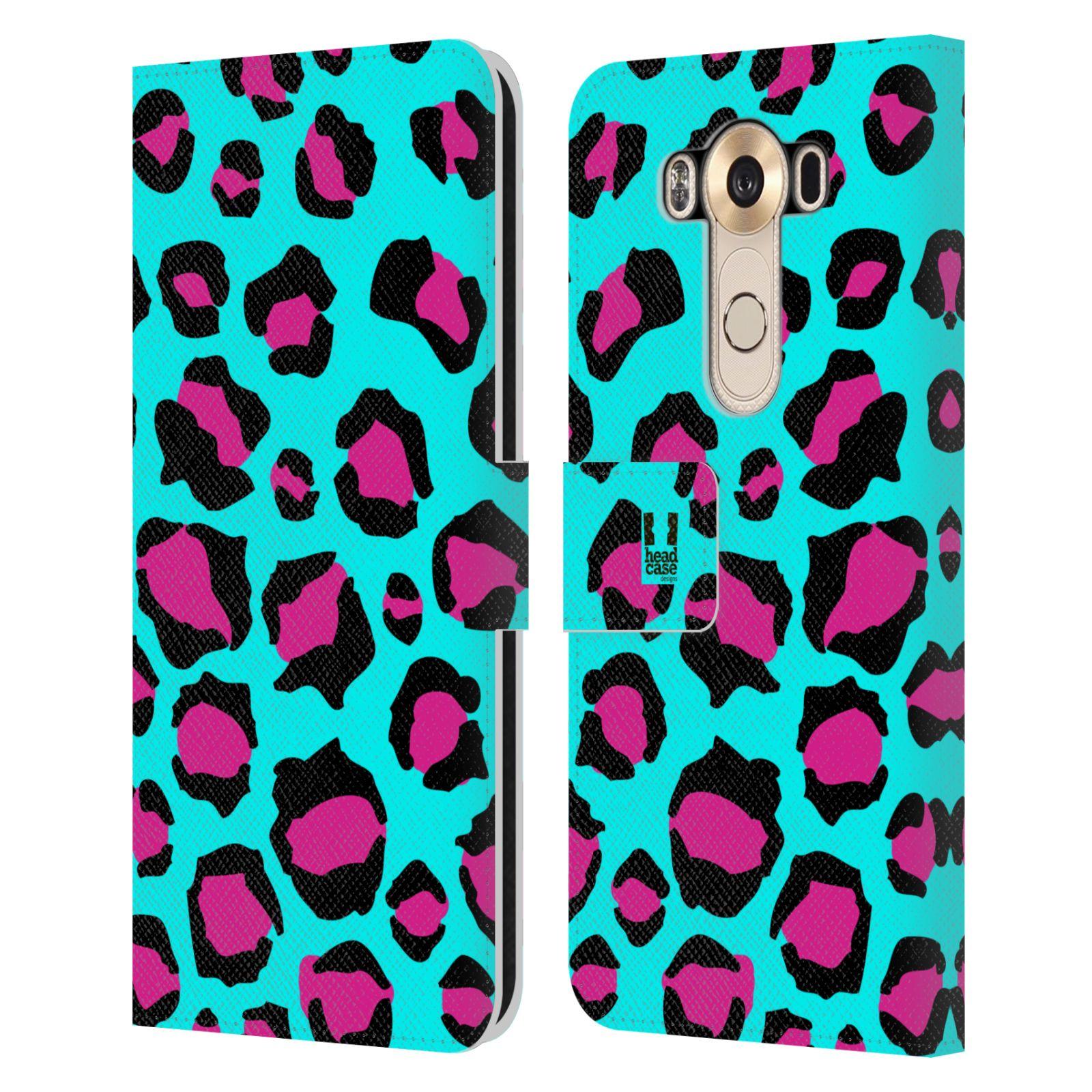 HEAD CASE Flipové pouzdro pro mobil LG V10 Zvířecí barevné vzory tyrkysový leopard