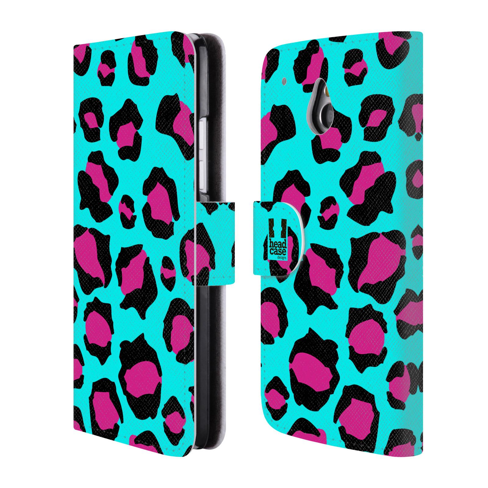 HEAD CASE Flipové pouzdro pro mobil HTC ONE MINI (M4) Zvířecí barevné vzory tyrkysový leopard