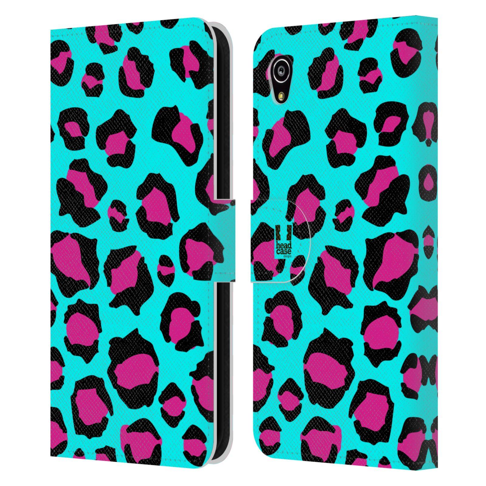 HEAD CASE Flipové pouzdro pro mobil SONY XPERIA M4 AQUA Zvířecí barevné vzory tyrkysový leopard