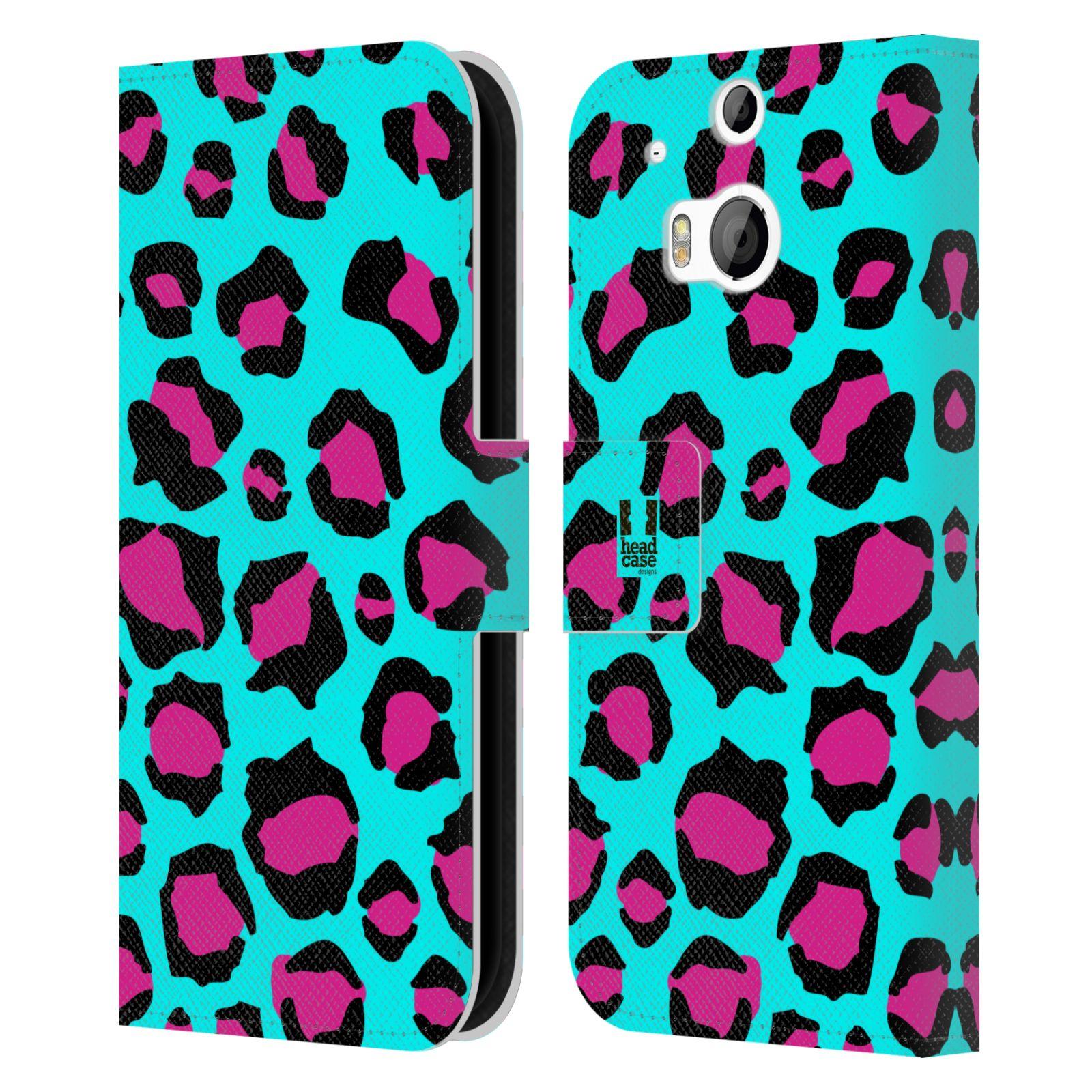 HEAD CASE Flipové pouzdro pro mobil HTC ONE (M8, M8s) Zvířecí barevné vzory tyrkysový leopard