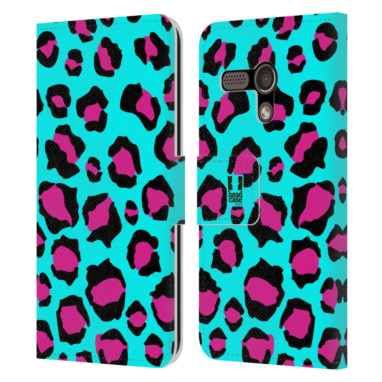 HEAD CASE Flipové pouzdro pro mobil MOTOROLA MOTO G Zvířecí barevné vzory tyrkysový leopard