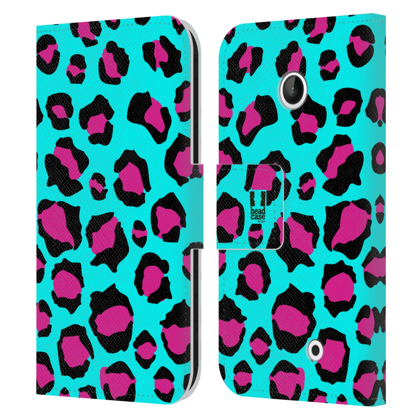 HEAD CASE Flipové pouzdro pro mobil NOKIA LUMIA 630 / LUMIA 630 DUAL Zvířecí barevné vzory tyrkysový leopard