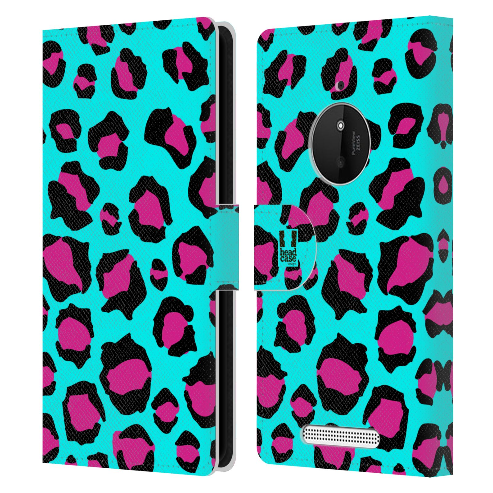 HEAD CASE Flipové pouzdro pro mobil NOKIA LUMIA 830 Zvířecí barevné vzory tyrkysový leopard