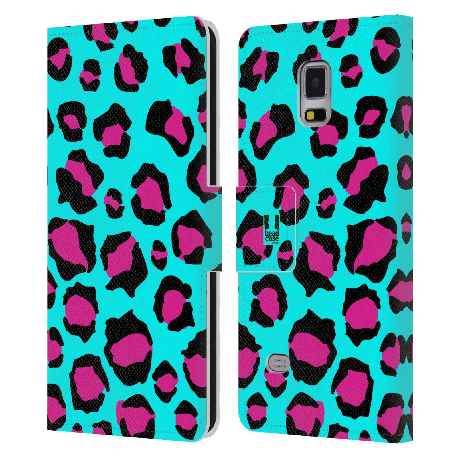 HEAD CASE Flipové pouzdro pro mobil Samsung Galaxy Note 4 Zvířecí barevné vzory tyrkysový leopard