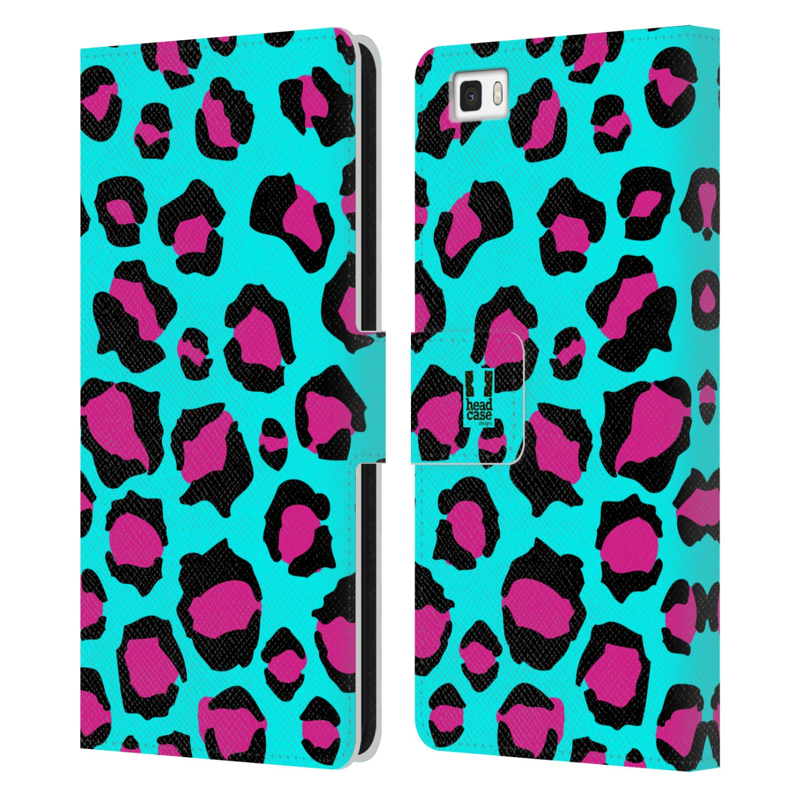 HEAD CASE Flipové pouzdro pro mobil Huawei P8 LITE Zvířecí barevné vzory tyrkysový leopard