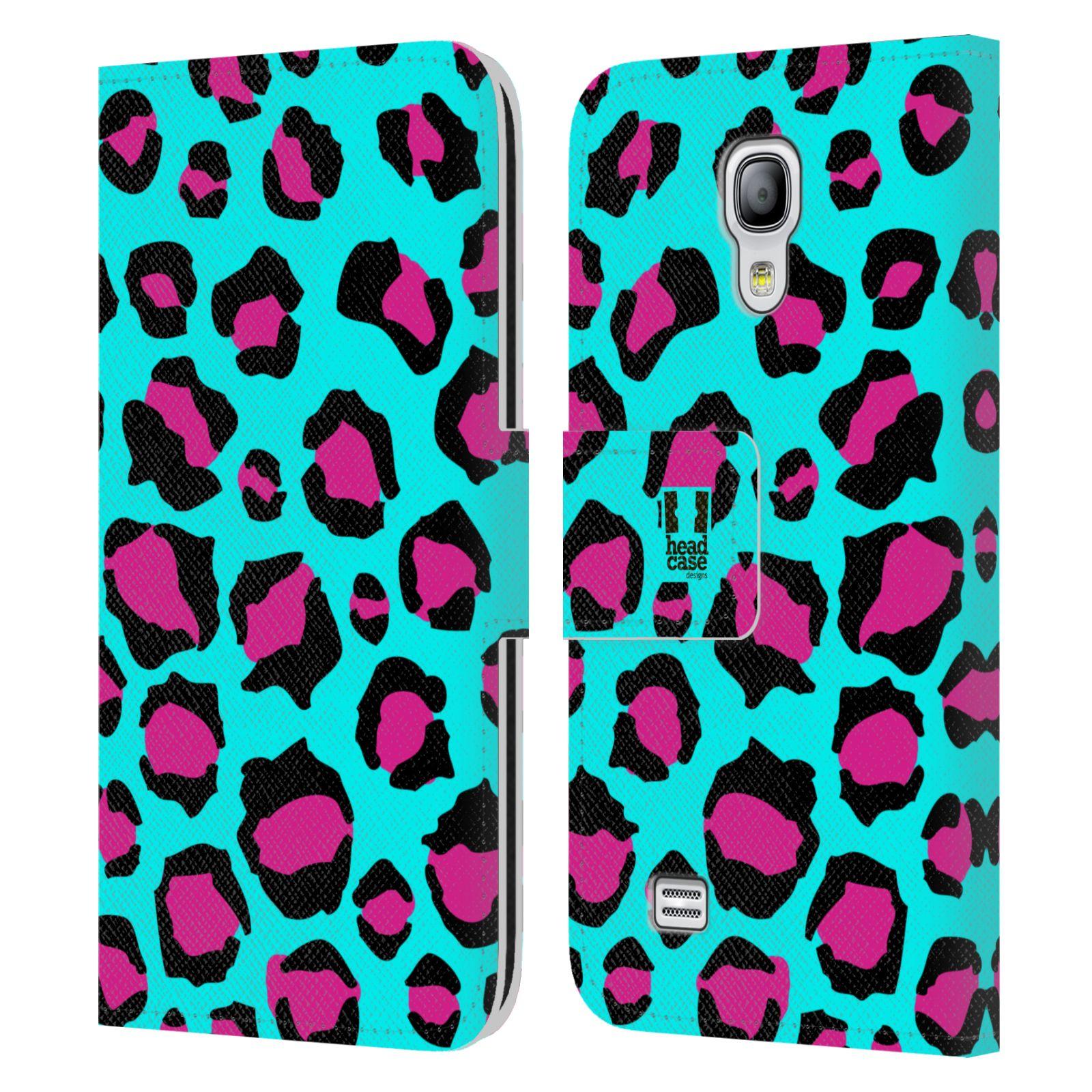 HEAD CASE Flipové pouzdro pro mobil Samsung Galaxy S4 MINI / S4 MINI DUOS Zvířecí barevné vzory tyrkysový leopard