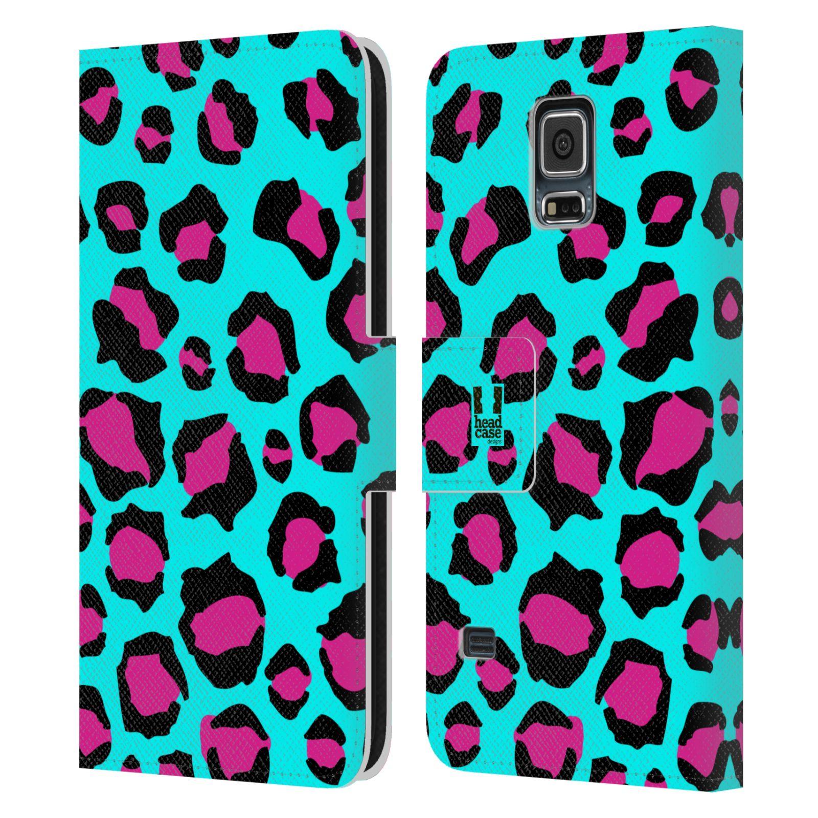 HEAD CASE Flipové pouzdro pro mobil Samsung Galaxy S5 / S5 NEO Zvířecí barevné vzory tyrkysový leopard