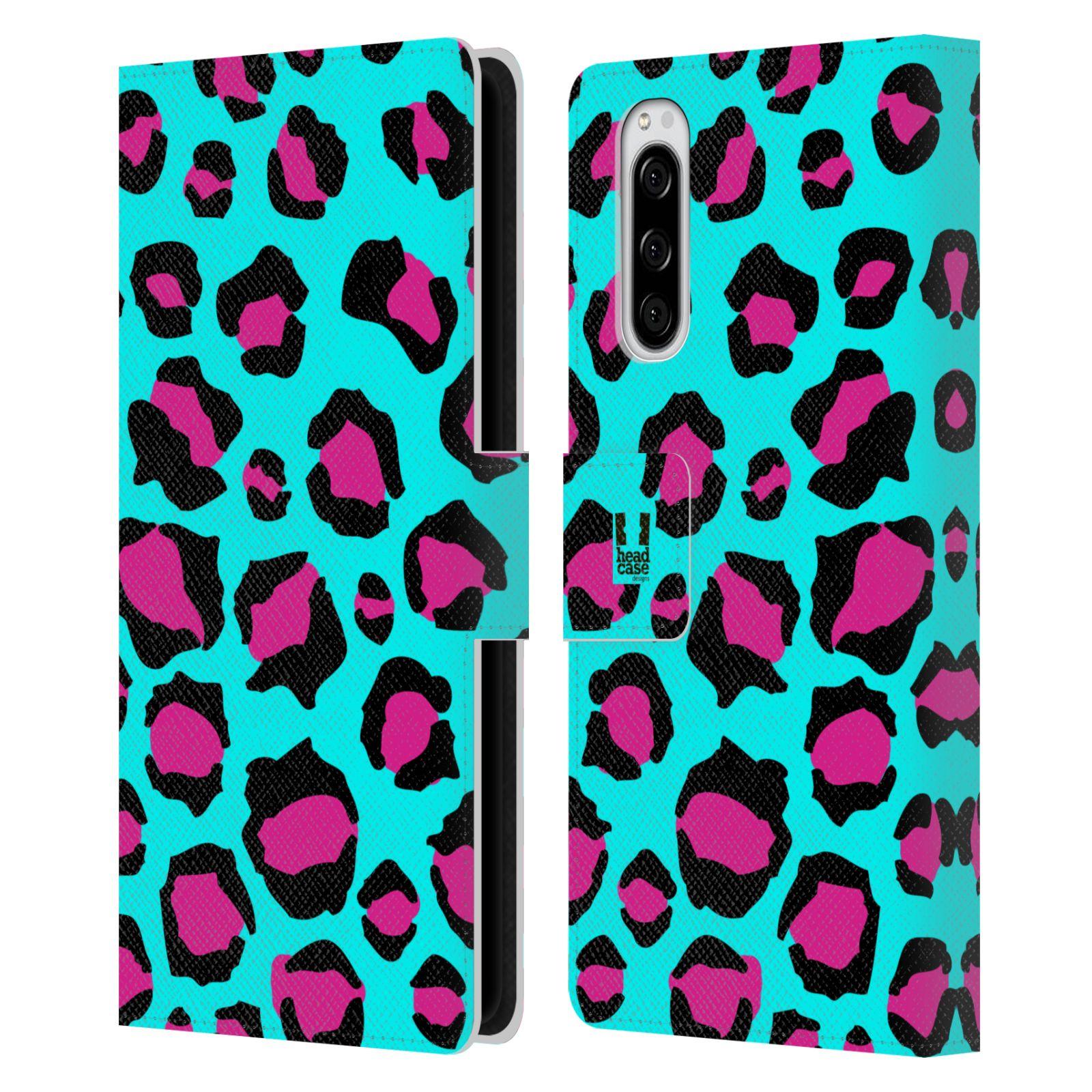 Pouzdro na mobil Sony Xperia 5 Zvířecí barevné vzory tyrkysový leopard