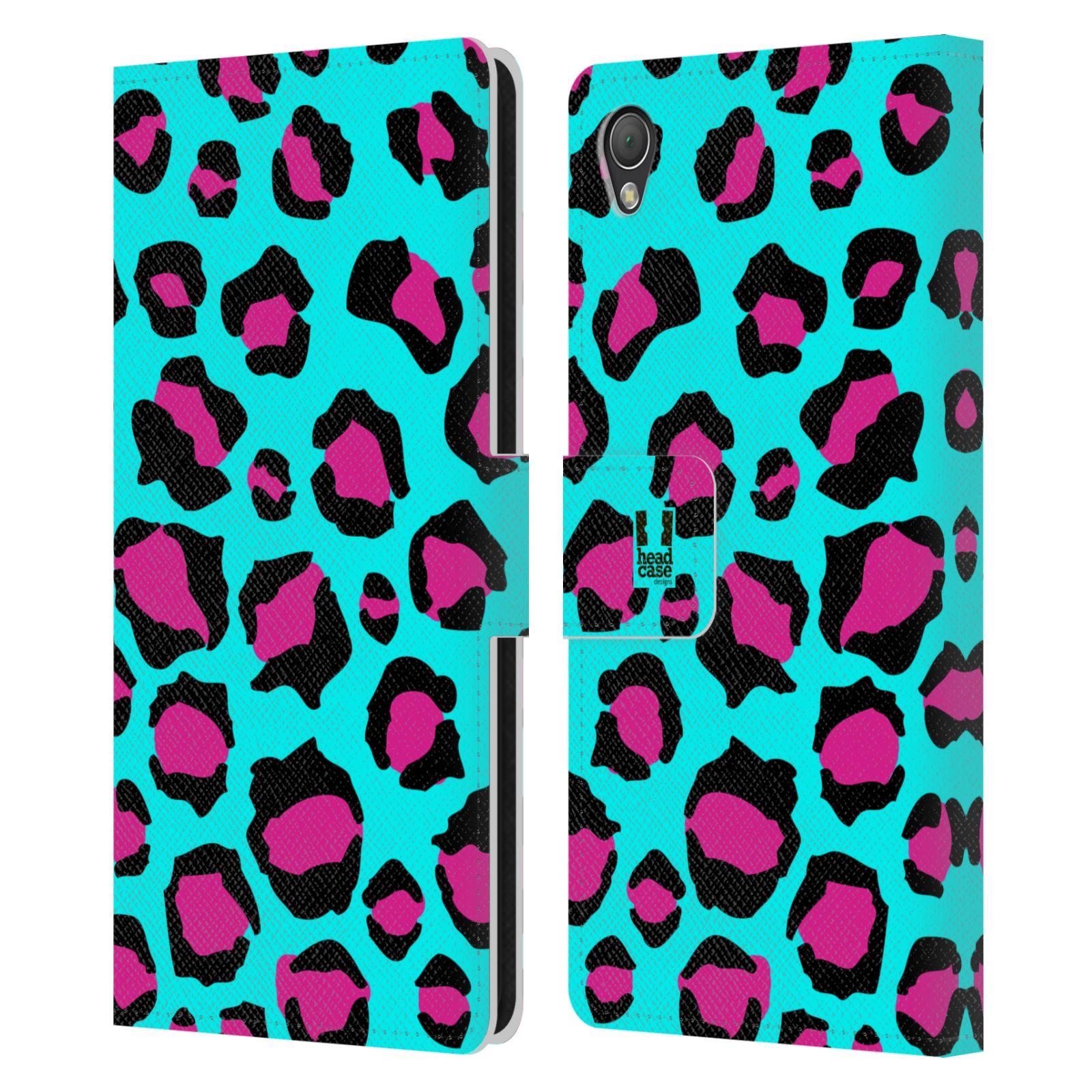 HEAD CASE Flipové pouzdro pro mobil SONY XPERIA Z3 Zvířecí barevné vzory tyrkysový leopard