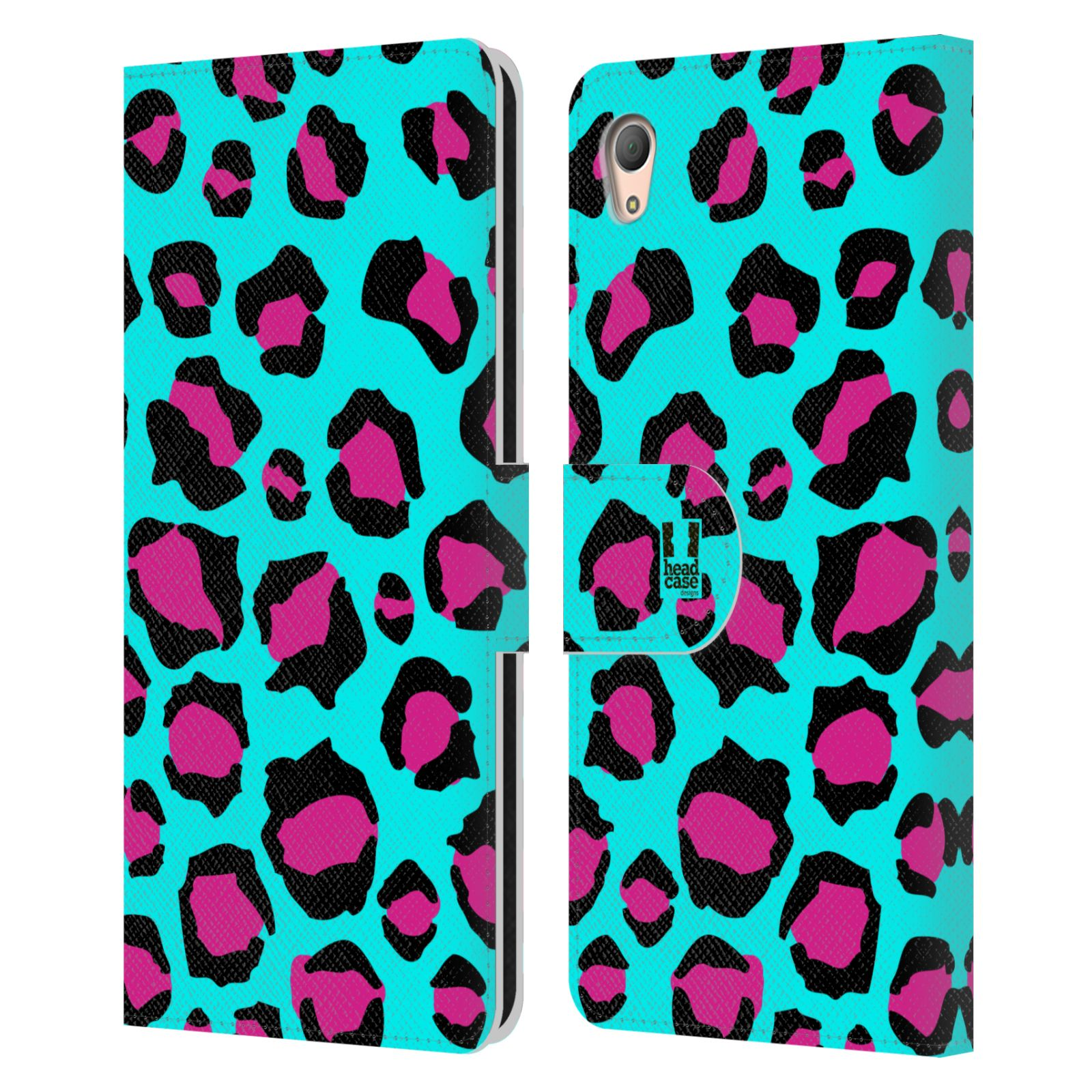 HEAD CASE Flipové pouzdro pro mobil SONY XPERIA Z3+ (PLUS) Zvířecí barevné vzory tyrkysový leopard