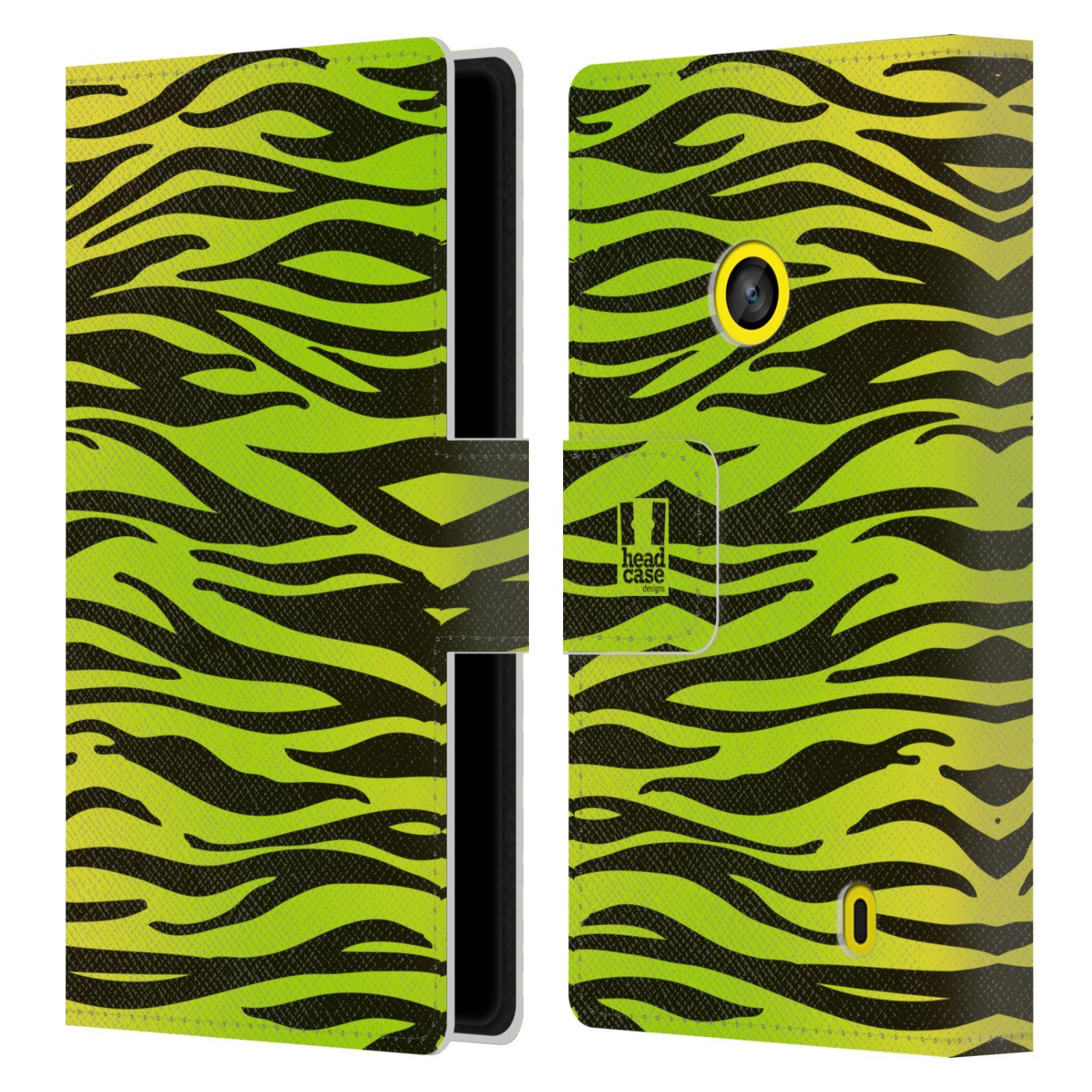 HEAD CASE Flipové pouzdro pro mobil NOKIA LUMIA 520 / 525 Zvířecí barevné vzory žlutozelená zebra