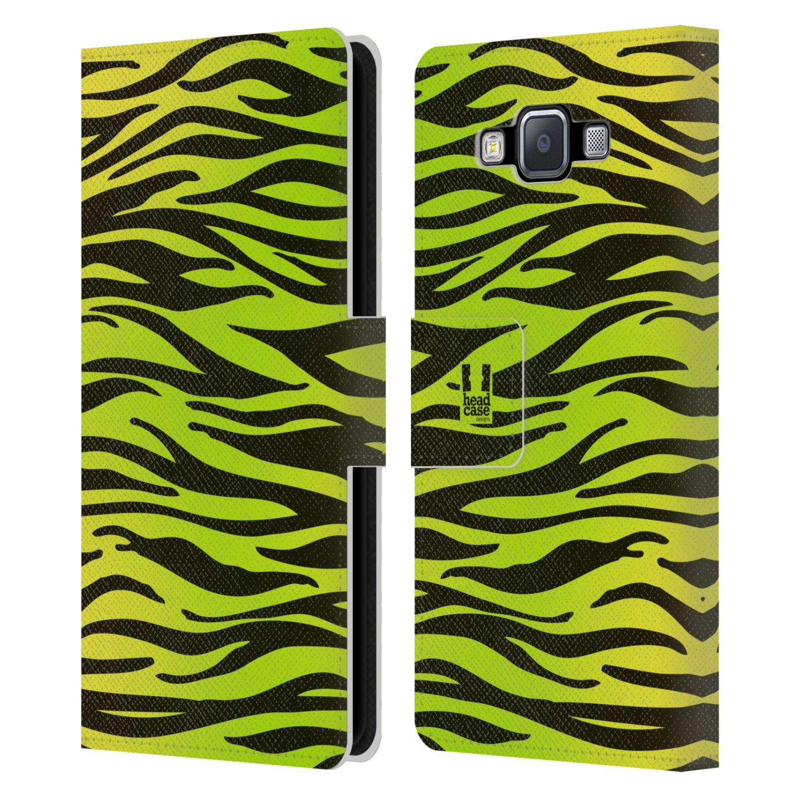 HEAD CASE Flipové pouzdro pro mobil Samsung Galaxy A5 Zvířecí barevné vzory žlutozelená zebra