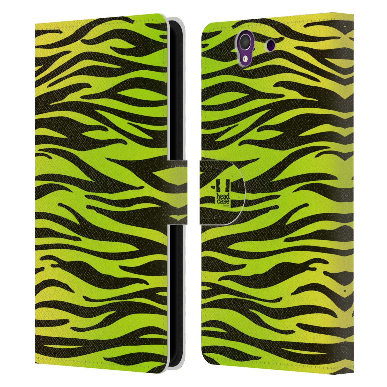 HEAD CASE Flipové pouzdro pro mobil SONY XPERIA Z (C6603) Zvířecí barevné vzory žlutozelená zebra