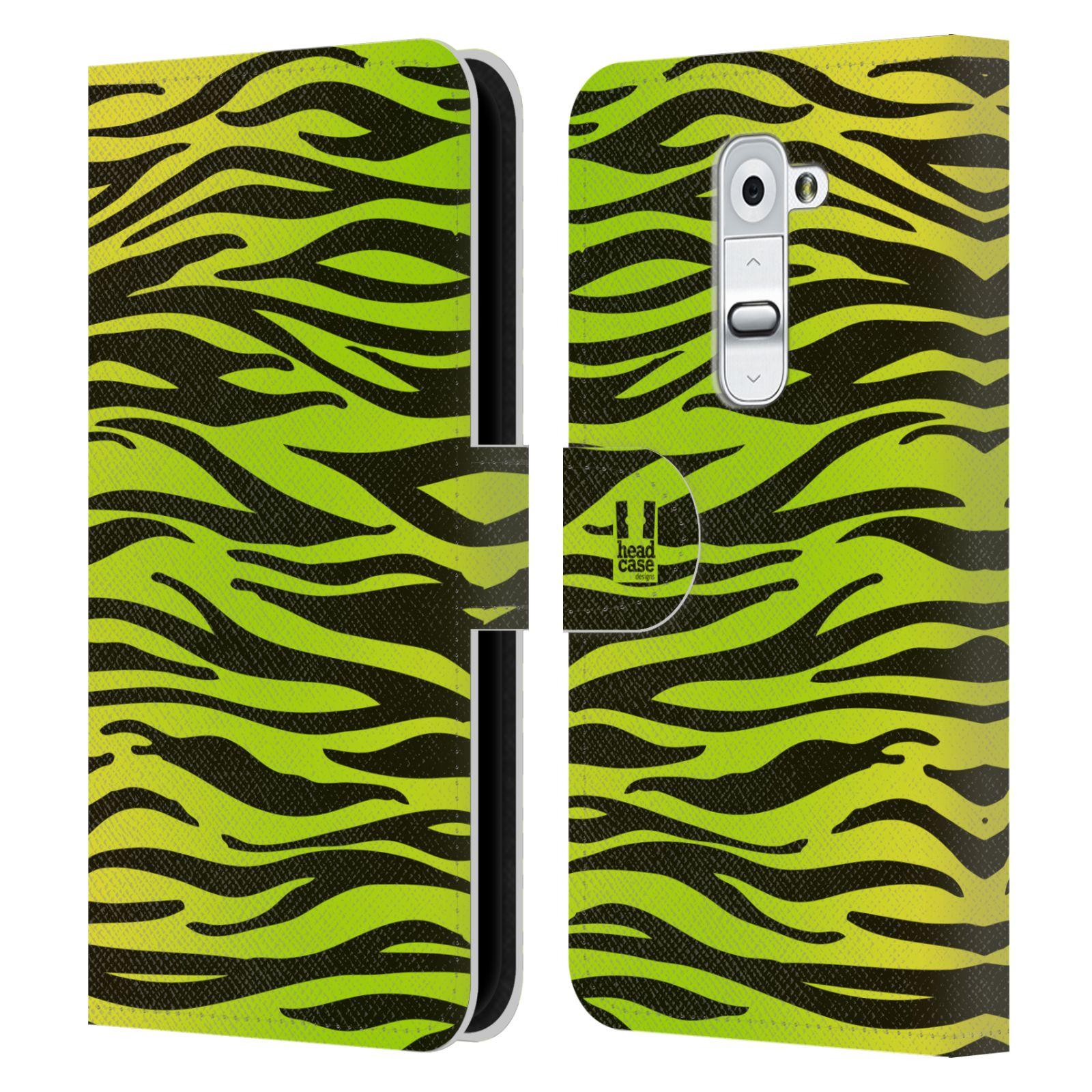 HEAD CASE Flipové pouzdro pro mobil LG G2 (D802) Zvířecí barevné vzory žlutozelená zebra