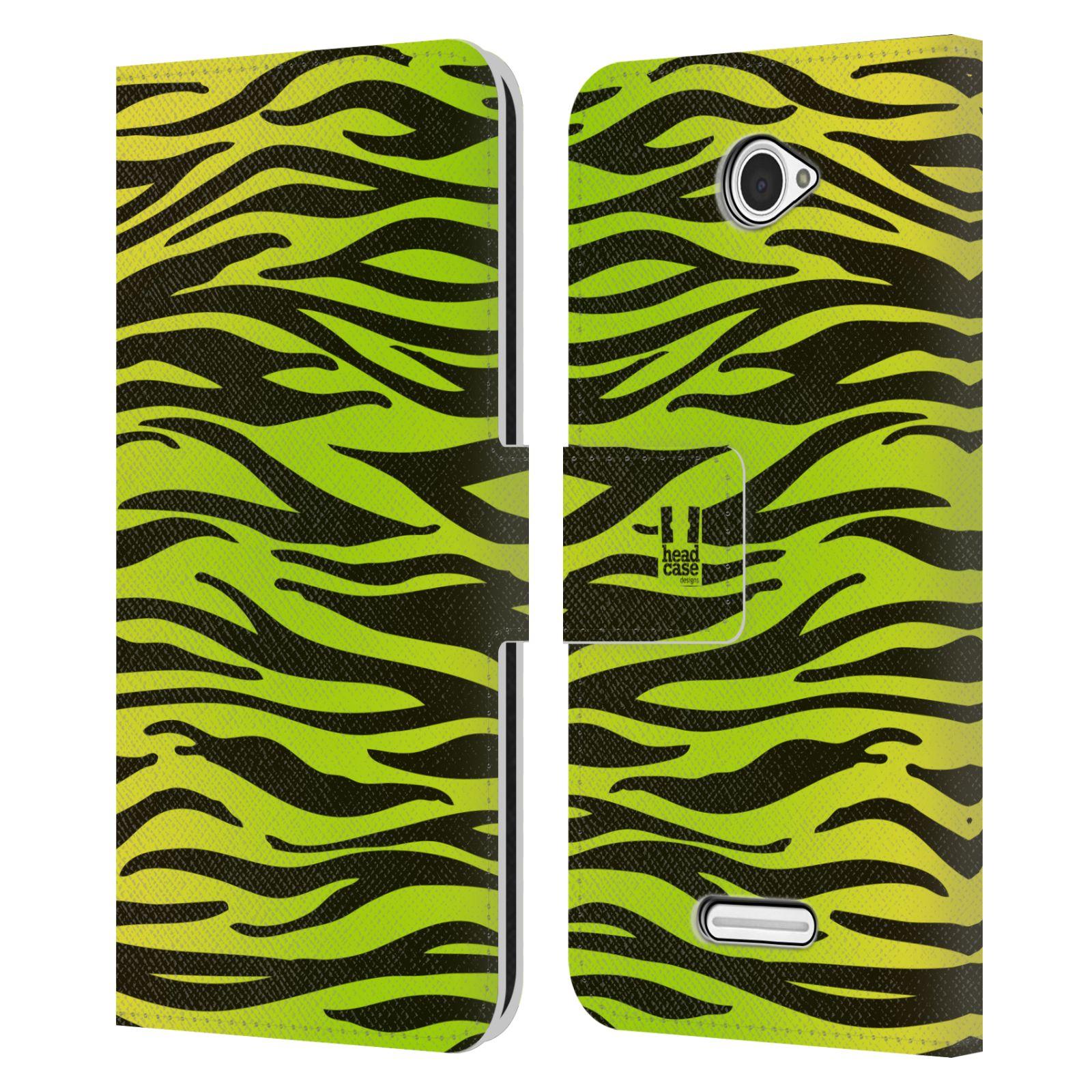 HEAD CASE Flipové pouzdro pro mobil SONY XPERIA E4 Zvířecí barevné vzory žlutozelená zebra