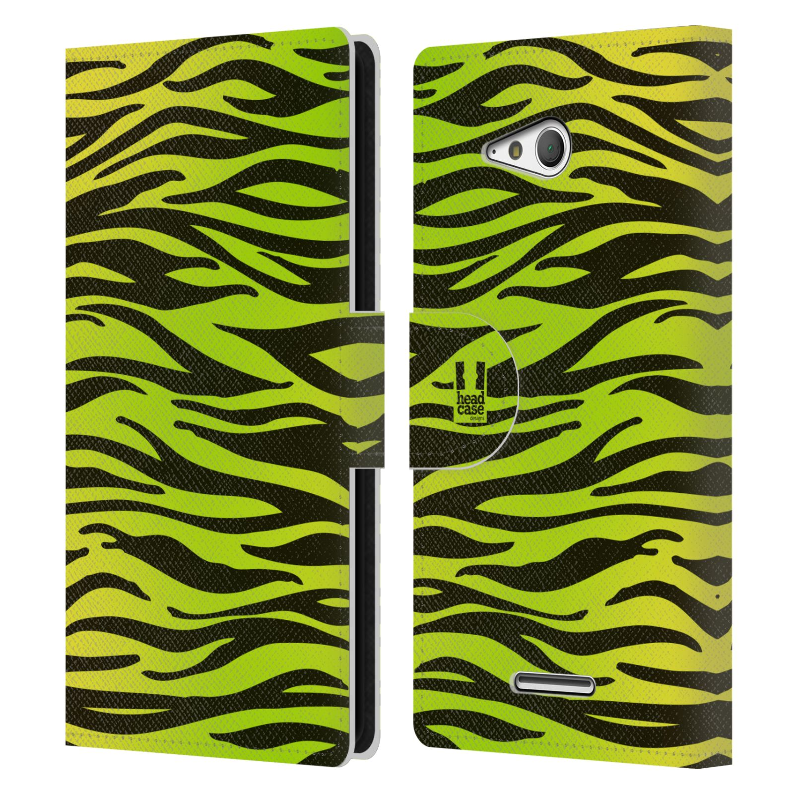 HEAD CASE Flipové pouzdro pro mobil SONY XPERIA E4g Zvířecí barevné vzory žlutozelená zebra