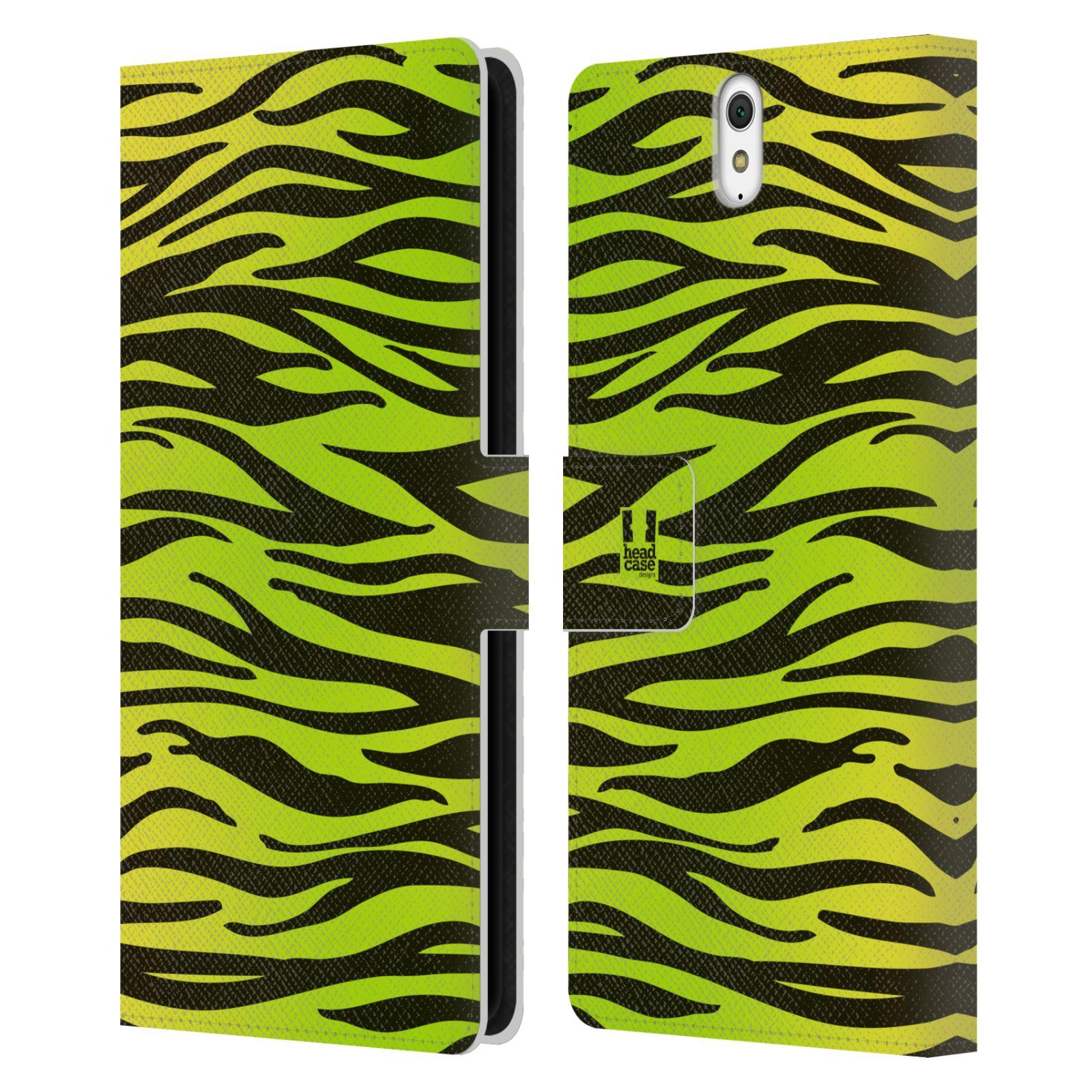 HEAD CASE Flipové pouzdro pro mobil SONY XPERIA C5 Ultra Zvířecí barevné vzory žlutozelená zebra