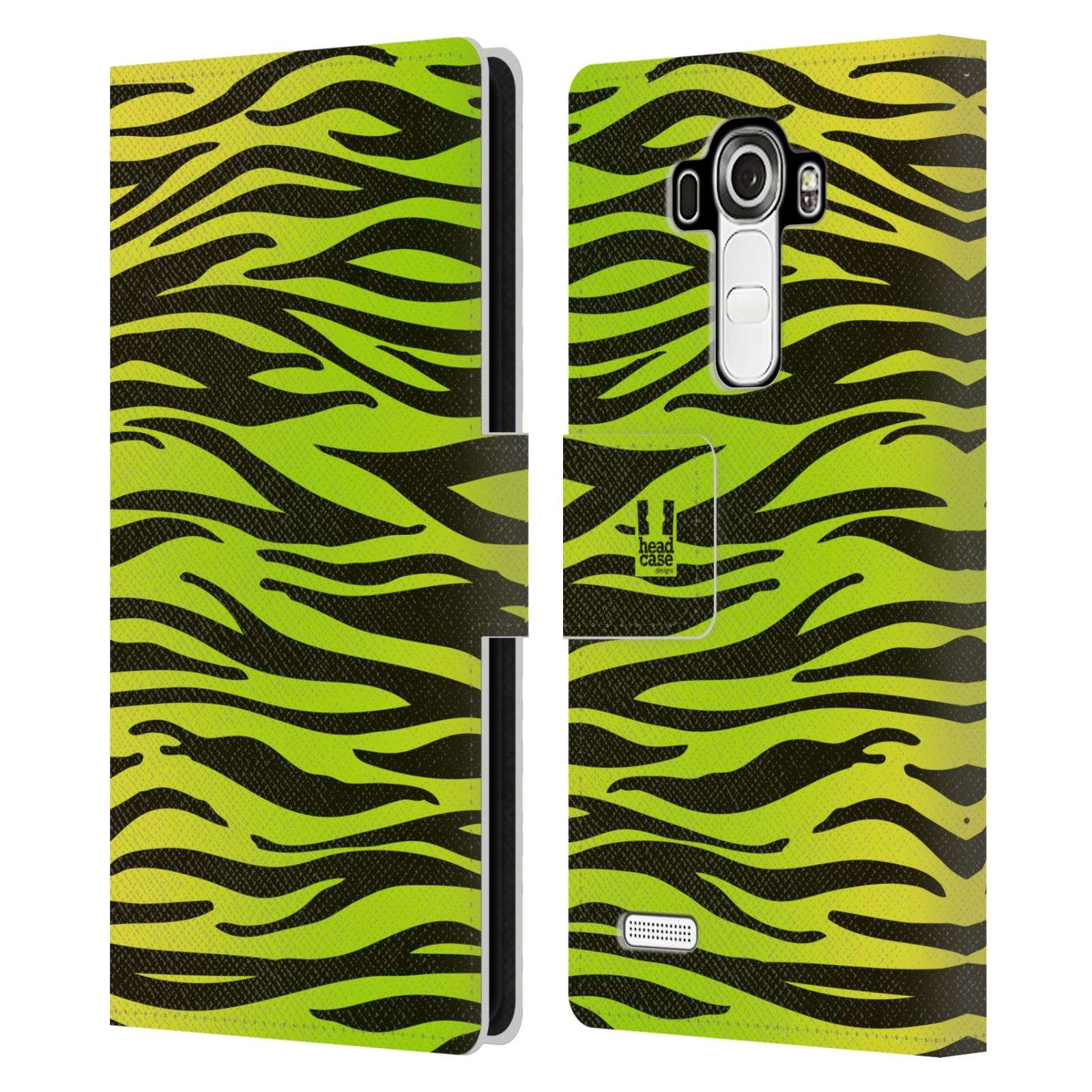 HEAD CASE Flipové pouzdro pro mobil LG G4 (H815) Zvířecí barevné vzory žlutozelená zebra