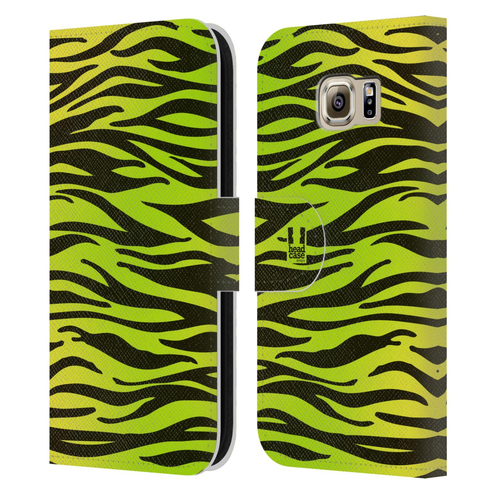 HEAD CASE Flipové pouzdro pro mobil Samsung Galaxy S6 (G9200) Zvířecí barevné vzory žlutozelená zebra