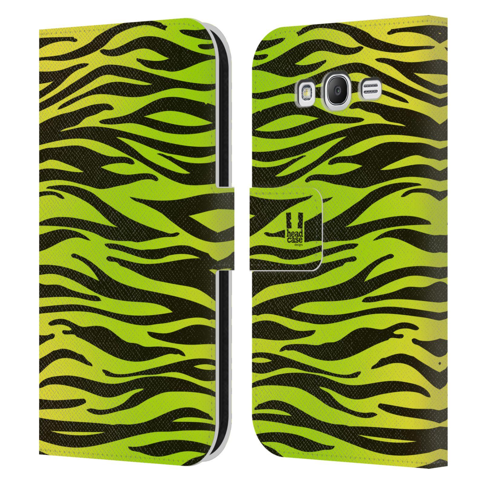 HEAD CASE Flipové pouzdro pro mobil Samsung Galaxy Grand i9080 Zvířecí barevné vzory žlutozelená zebra