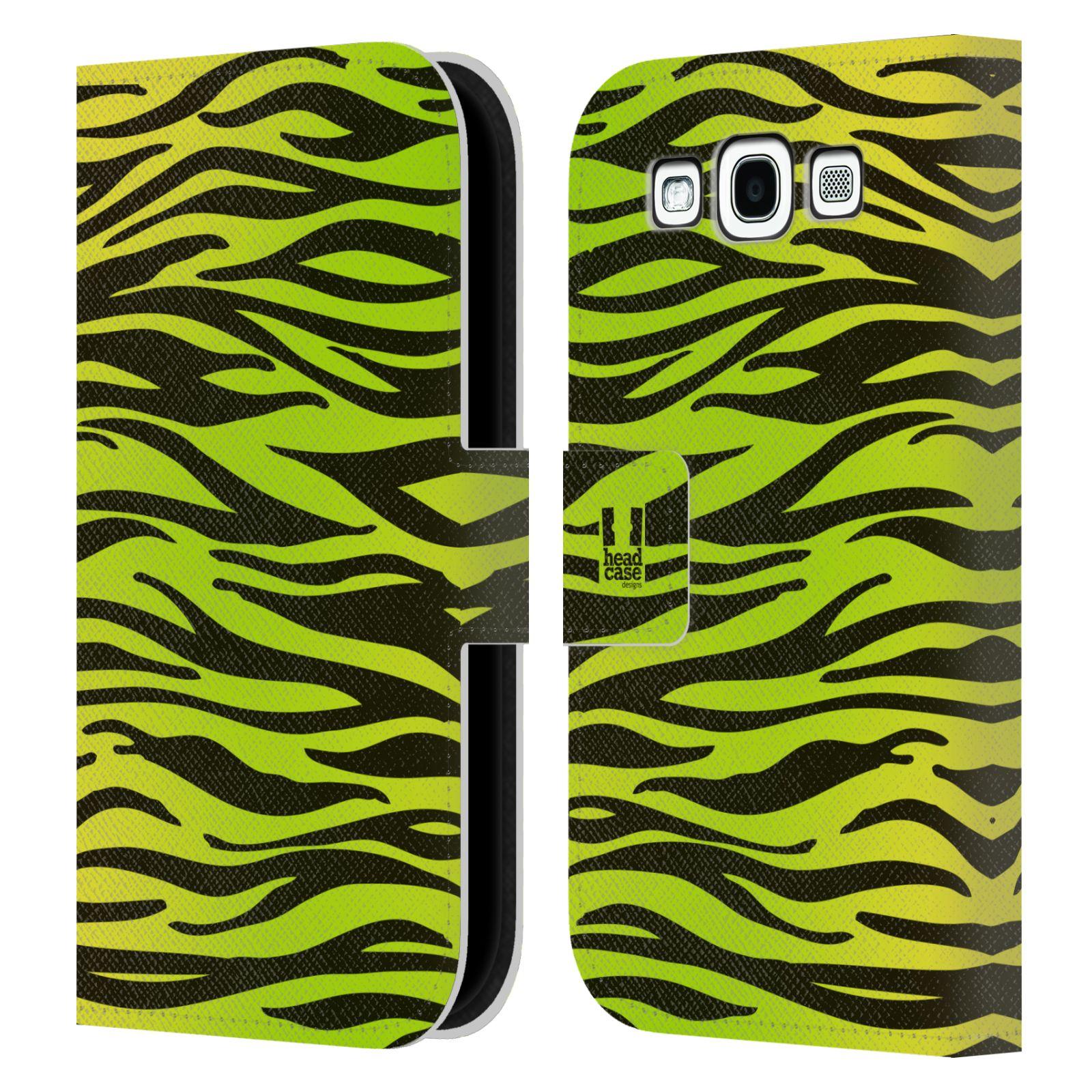 HEAD CASE Flipové pouzdro pro mobil Samsung Galaxy S3 Zvířecí barevné vzory žlutozelená zebra