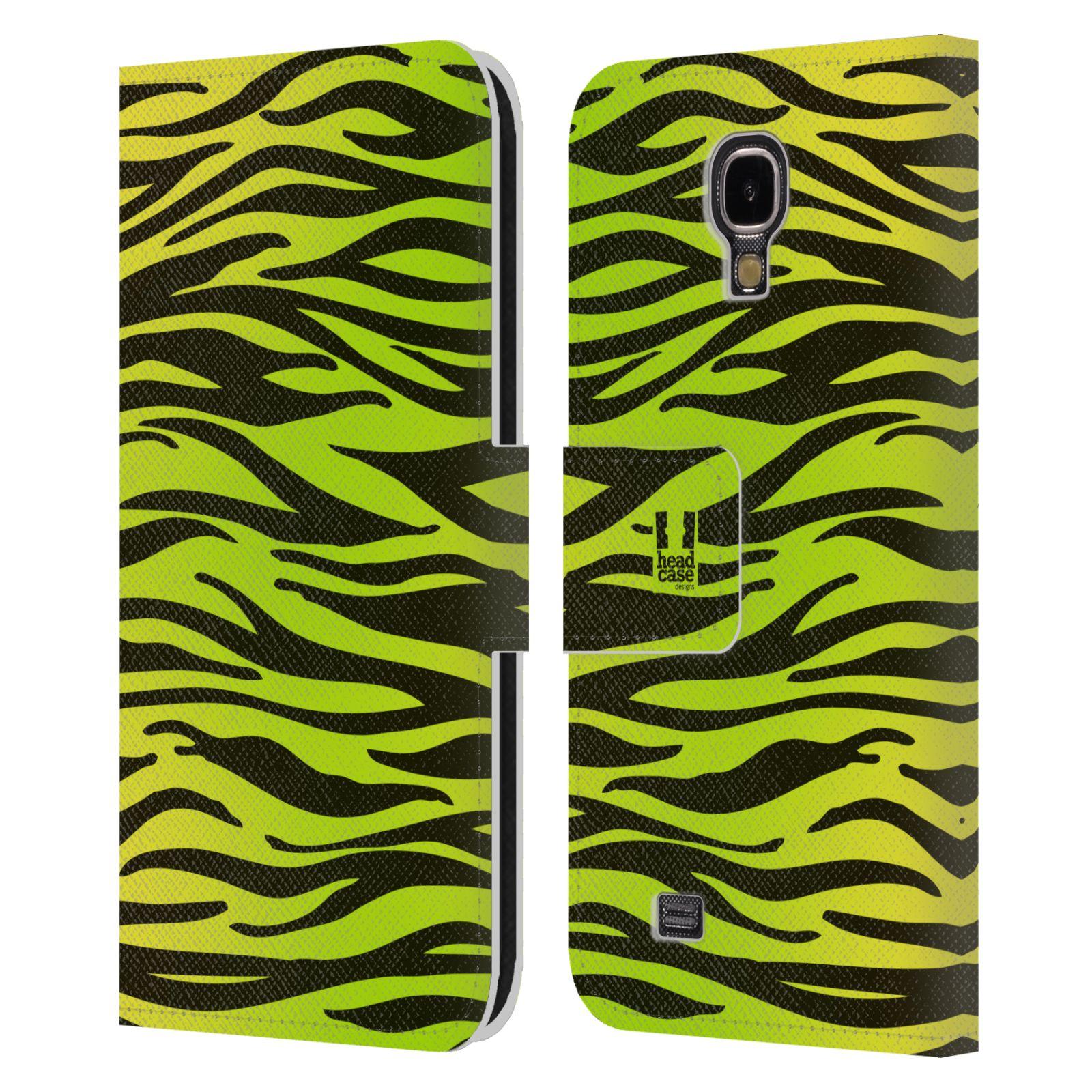 HEAD CASE Flipové pouzdro pro mobil Samsung Galaxy S4 Zvířecí barevné vzory žlutozelená zebra