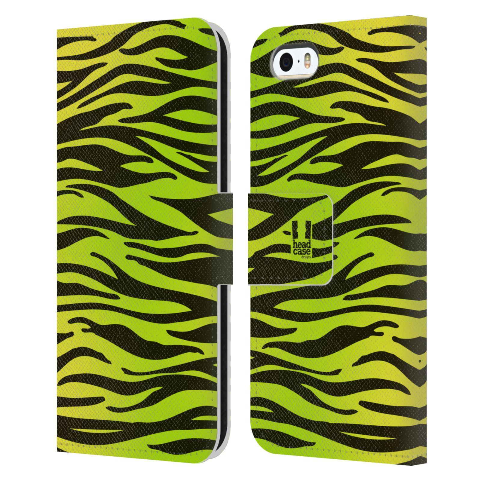 HEAD CASE Flipové pouzdro pro mobil Apple Iphone 5/5s Zvířecí barevné vzory žlutozelená zebra