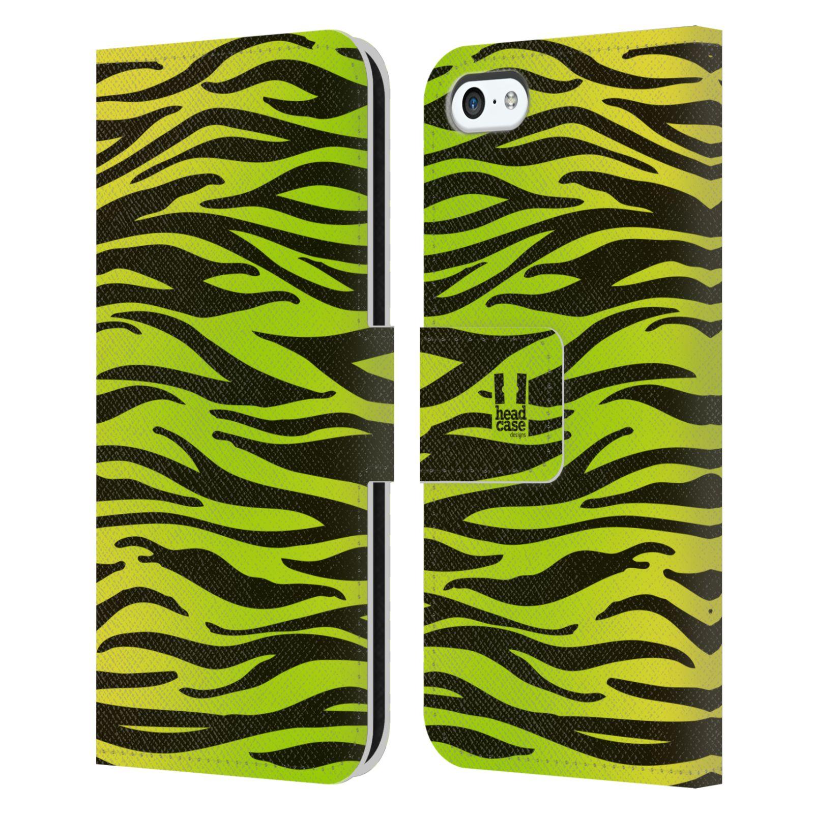 HEAD CASE Flipové pouzdro pro mobil Apple Iphone 5C Zvířecí barevné vzory žlutozelená zebra