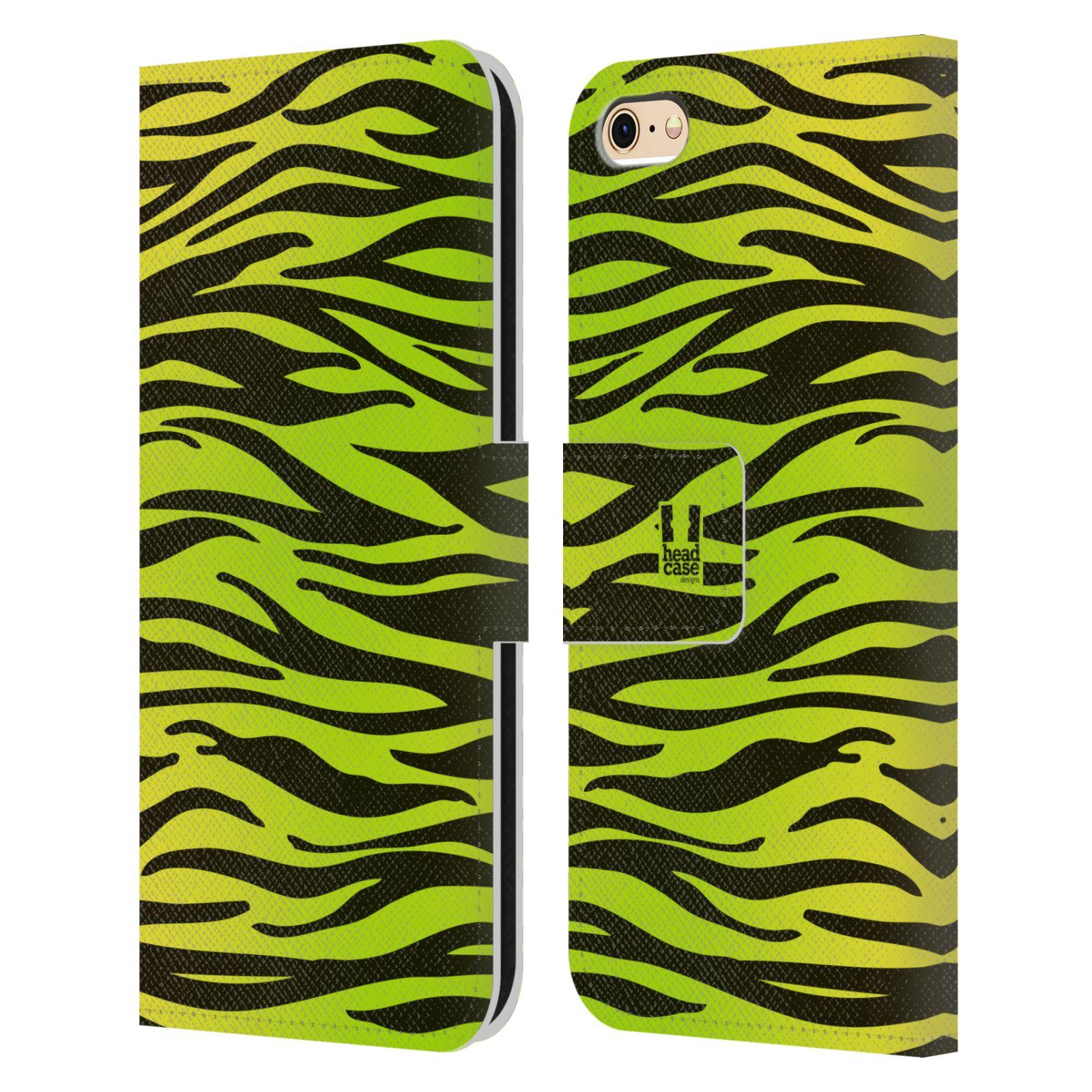 HEAD CASE Flipové pouzdro pro mobil Apple Iphone 6/6s Zvířecí barevné vzory žlutozelená zebra