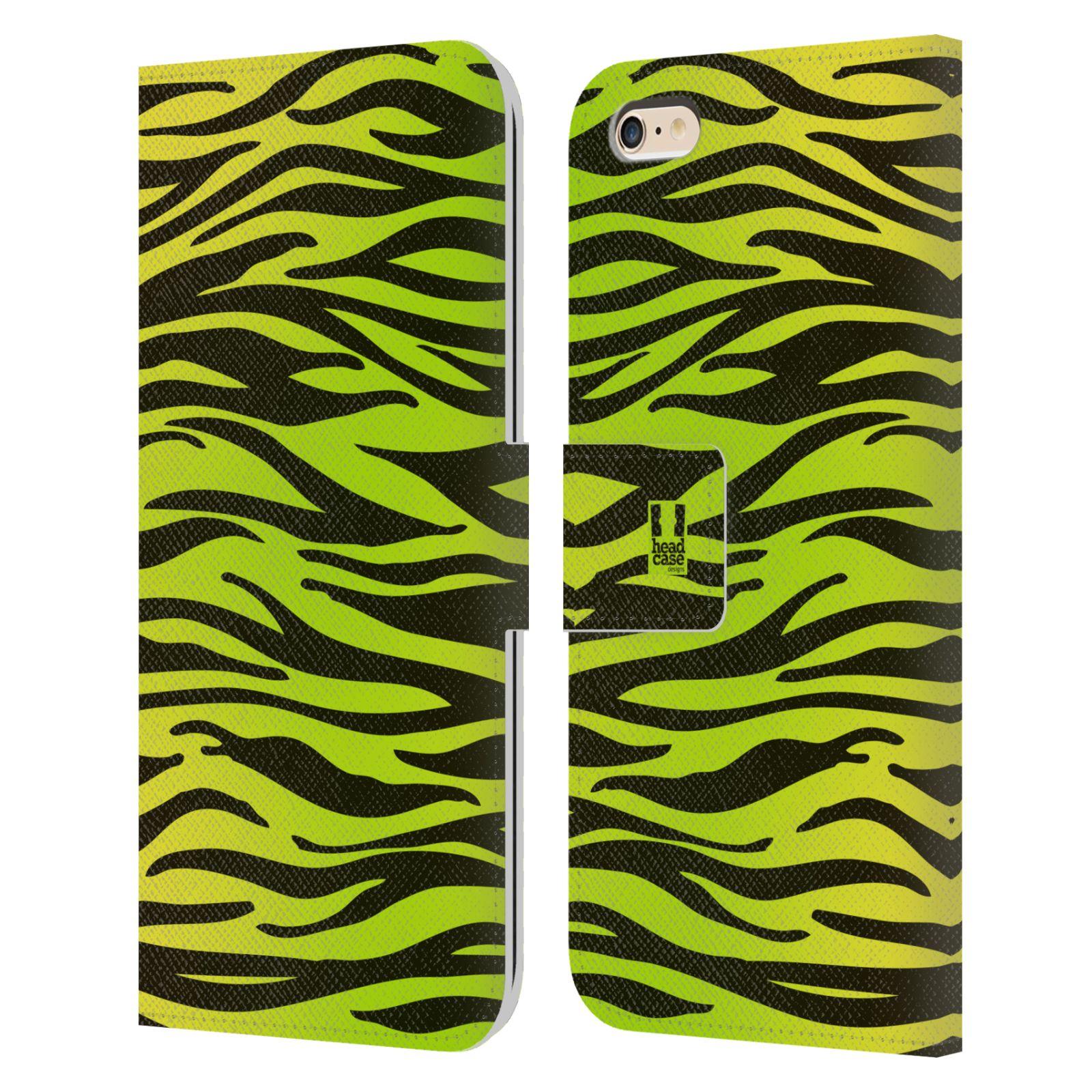 HEAD CASE Flipové pouzdro pro mobil Apple Iphone 6 PLUS / 6S PLUS Zvířecí barevné vzory žlutozelená zebra