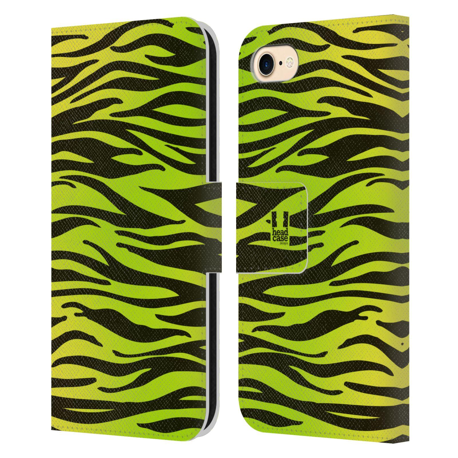 HEAD CASE Flipové pouzdro pro mobil Apple Iphone 7/8 Zvířecí barevné vzory žlutozelená zebra