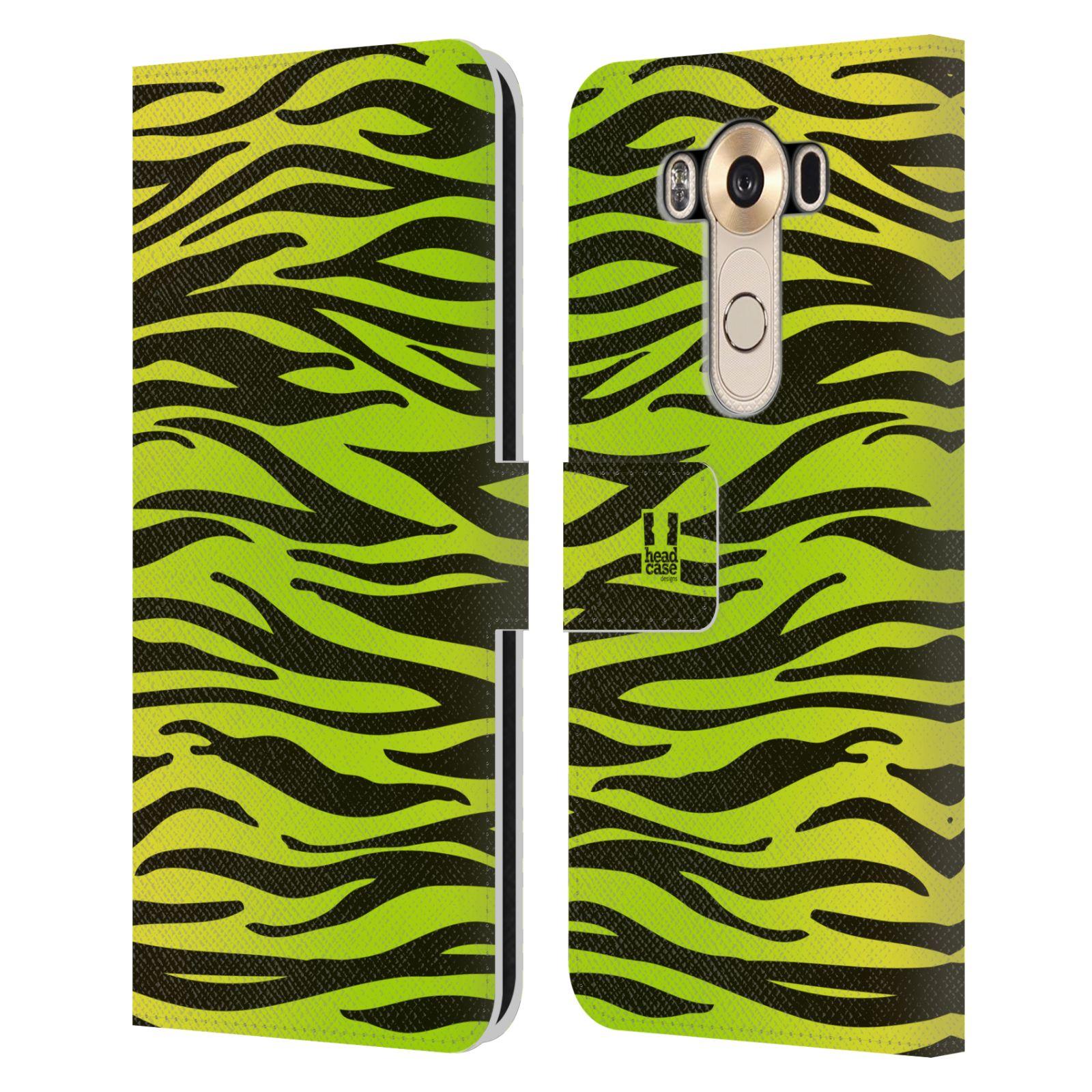 HEAD CASE Flipové pouzdro pro mobil LG V10 Zvířecí barevné vzory žlutozelená zebra