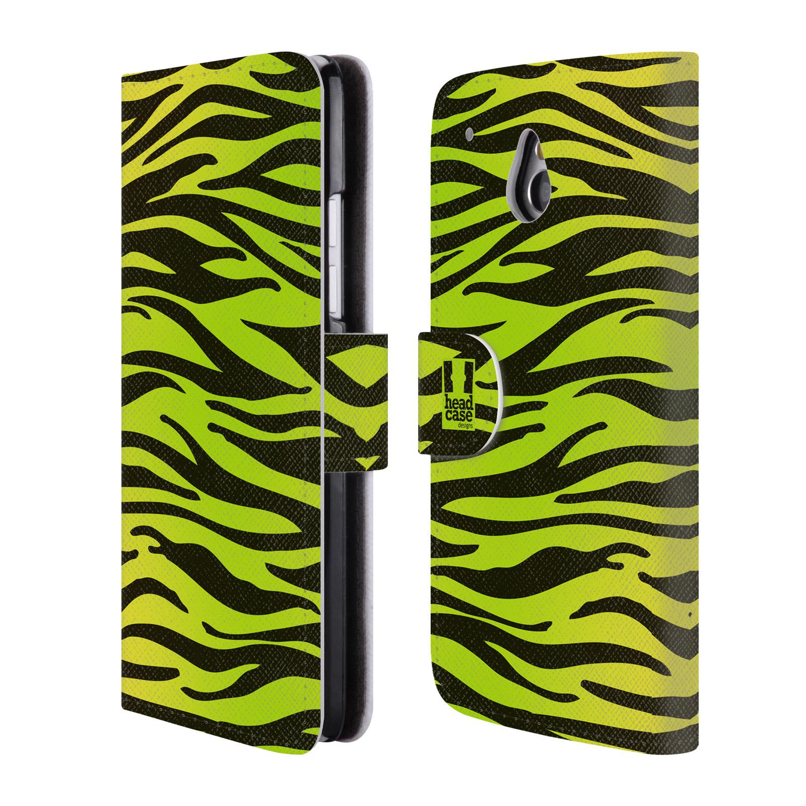 HEAD CASE Flipové pouzdro pro mobil HTC ONE MINI (M4) Zvířecí barevné vzory žlutozelená zebra