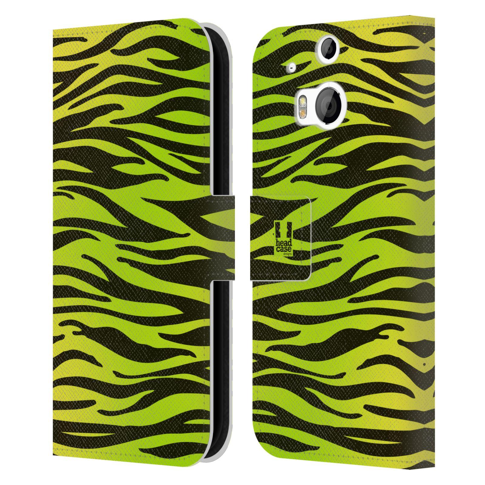 HEAD CASE Flipové pouzdro pro mobil HTC ONE (M8, M8s) Zvířecí barevné vzory žlutozelená zebra