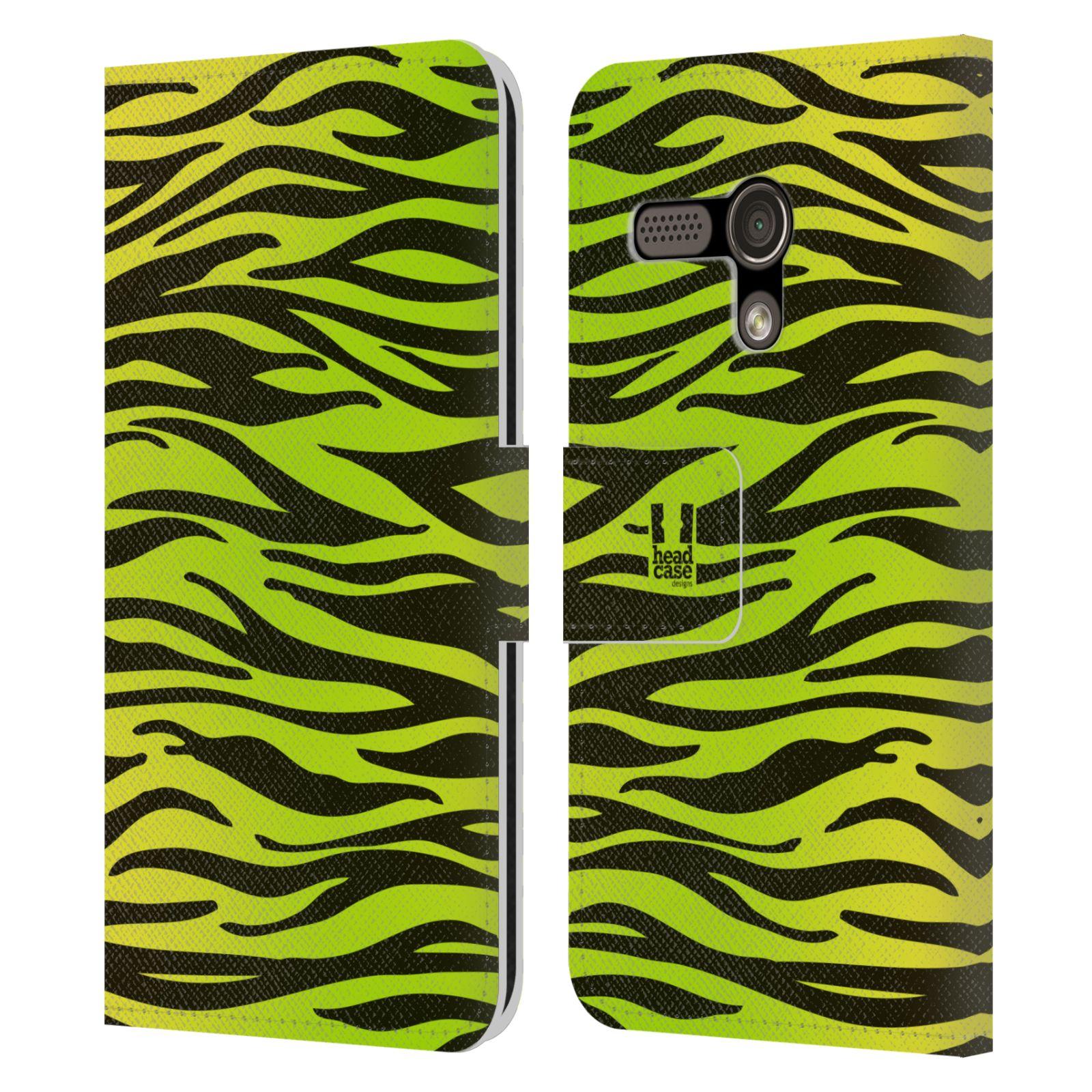 HEAD CASE Flipové pouzdro pro mobil MOTOROLA MOTO G Zvířecí barevné vzory žlutozelená zebra