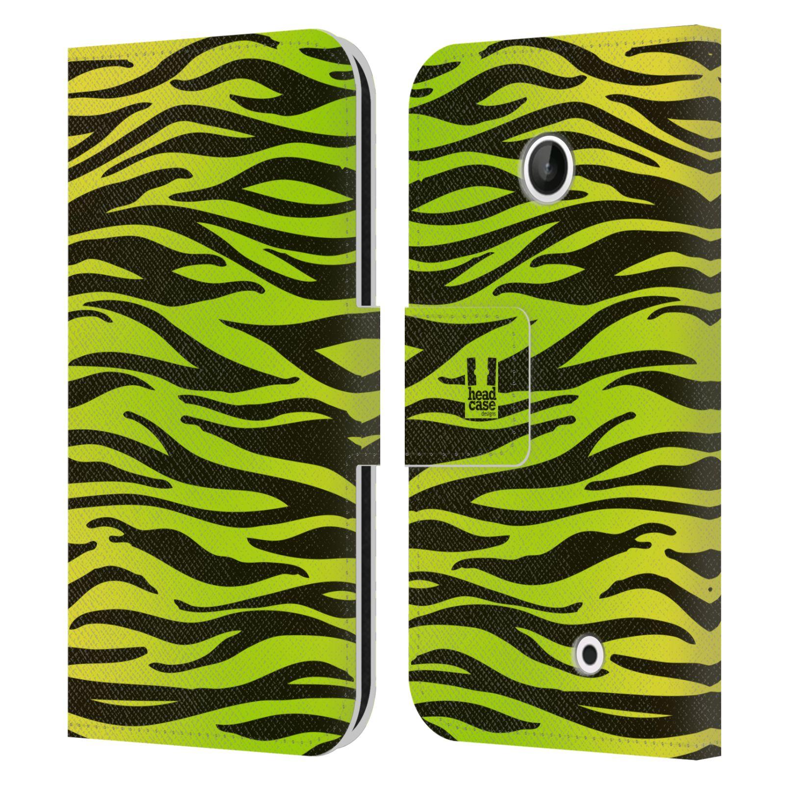 HEAD CASE Flipové pouzdro pro mobil NOKIA LUMIA 630 / LUMIA 630 DUAL Zvířecí barevné vzory žlutozelená zebra