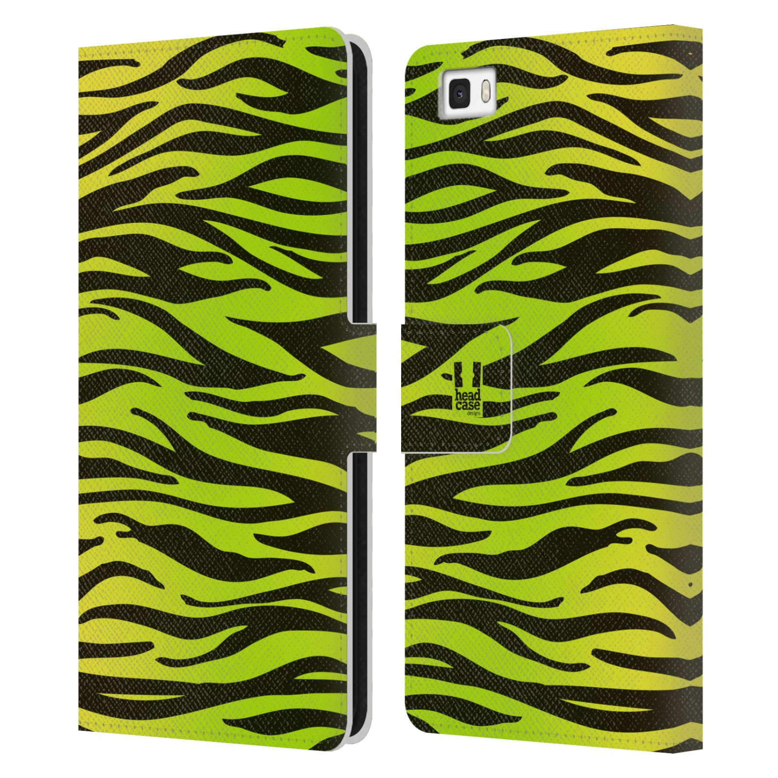 HEAD CASE Flipové pouzdro pro mobil Huawei P8 LITE Zvířecí barevné vzory žlutozelená zebra