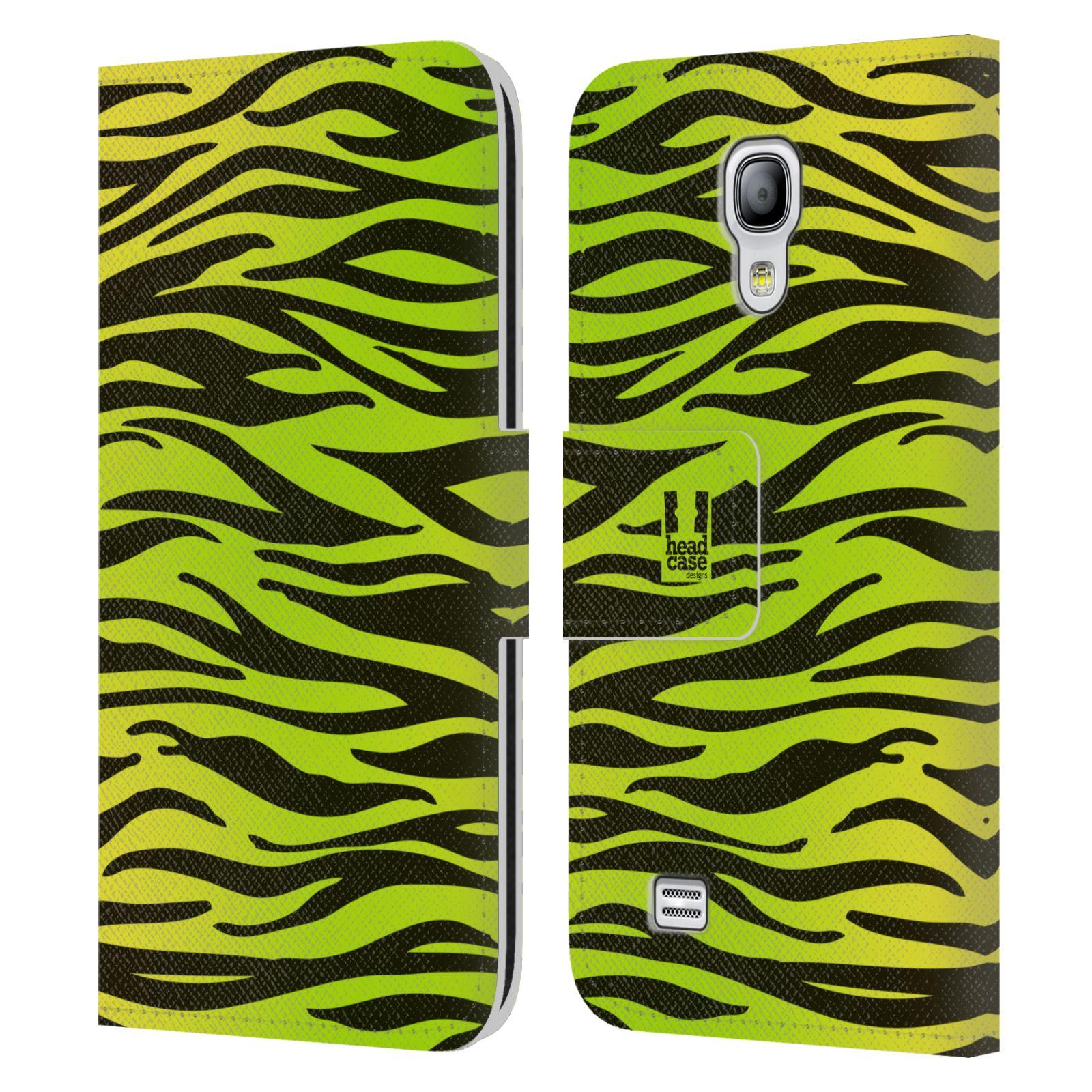 HEAD CASE Flipové pouzdro pro mobil Samsung Galaxy S4 MINI / S4 MINI DUOS Zvířecí barevné vzory žlutozelená zebra