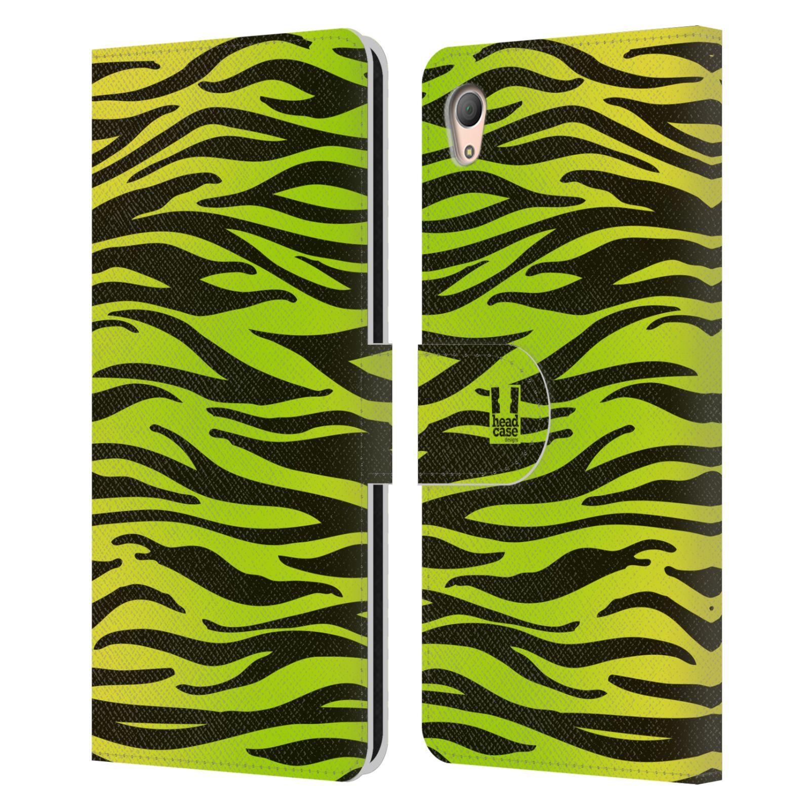 HEAD CASE Flipové pouzdro pro mobil SONY XPERIA Z3+ (PLUS) Zvířecí barevné vzory žlutozelená zebra