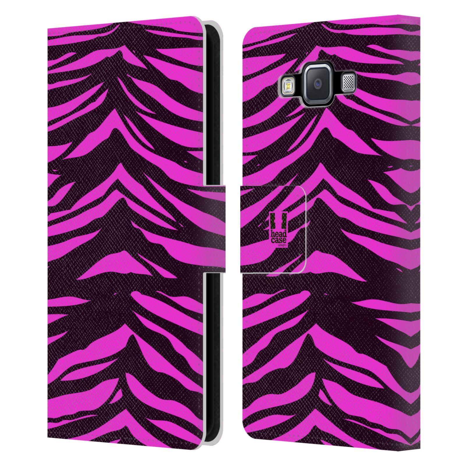 HEAD CASE Flipové pouzdro pro mobil Samsung Galaxy A5 Zvířecí barevné vzory fialová tygr