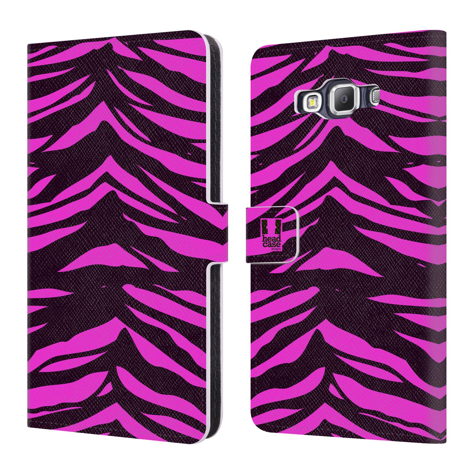 HEAD CASE Flipové pouzdro pro mobil Samsung Galaxy A7 (A700) Zvířecí barevné vzory fialová tygr