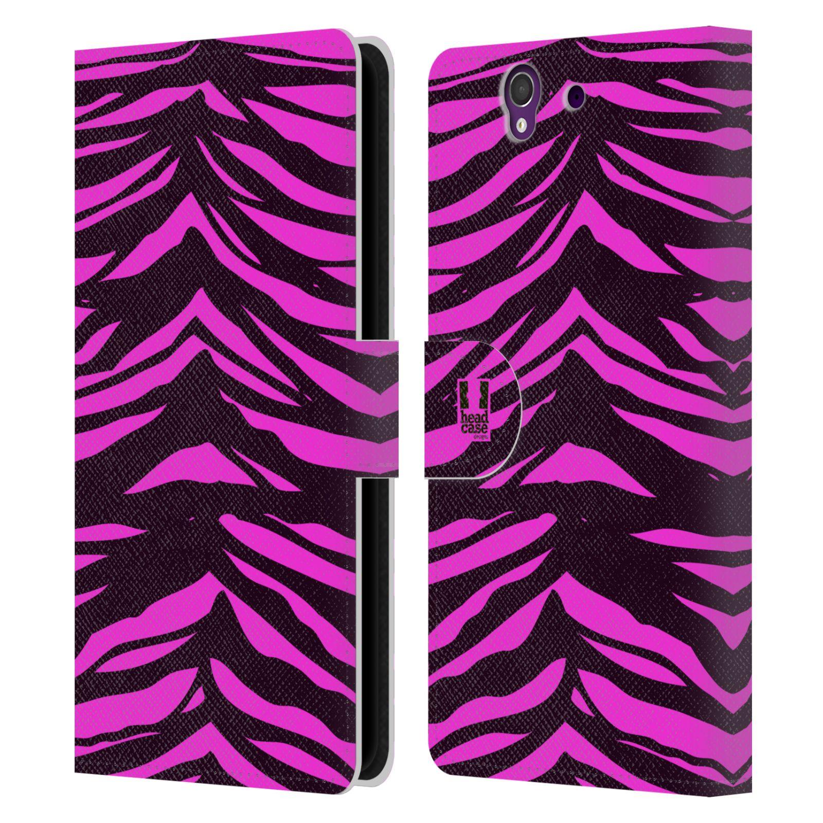 HEAD CASE Flipové pouzdro pro mobil SONY XPERIA Z (C6603) Zvířecí barevné vzory fialová tygr